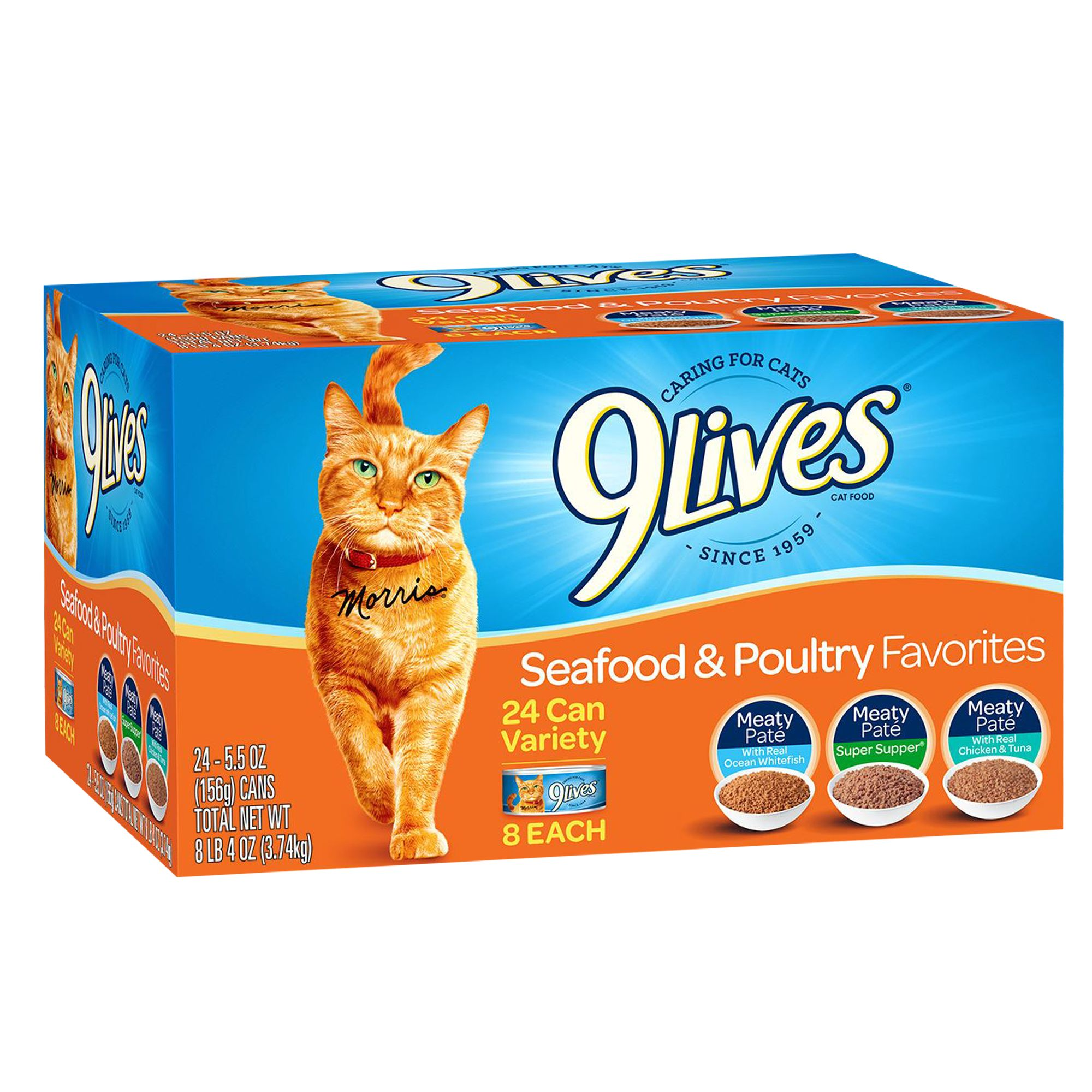 9lives Adult Cat Food Variety Pack 24ct Seafood And Poultry Size 5.5 Oz