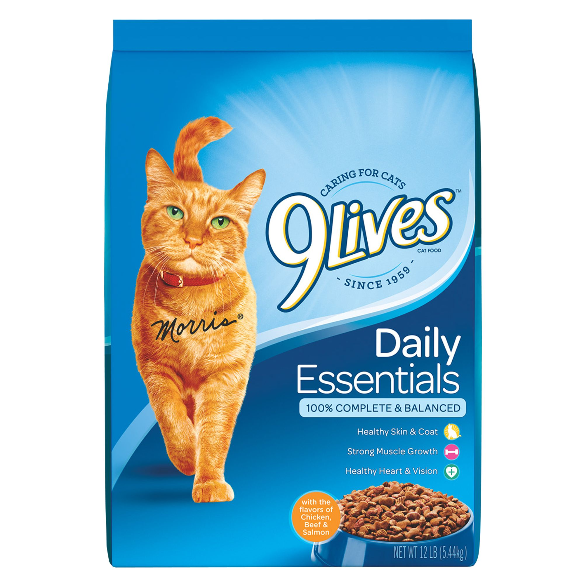 9lives Daily Essentials Adult Cat Food Chicken Beef And Salmon Size 12 Lb