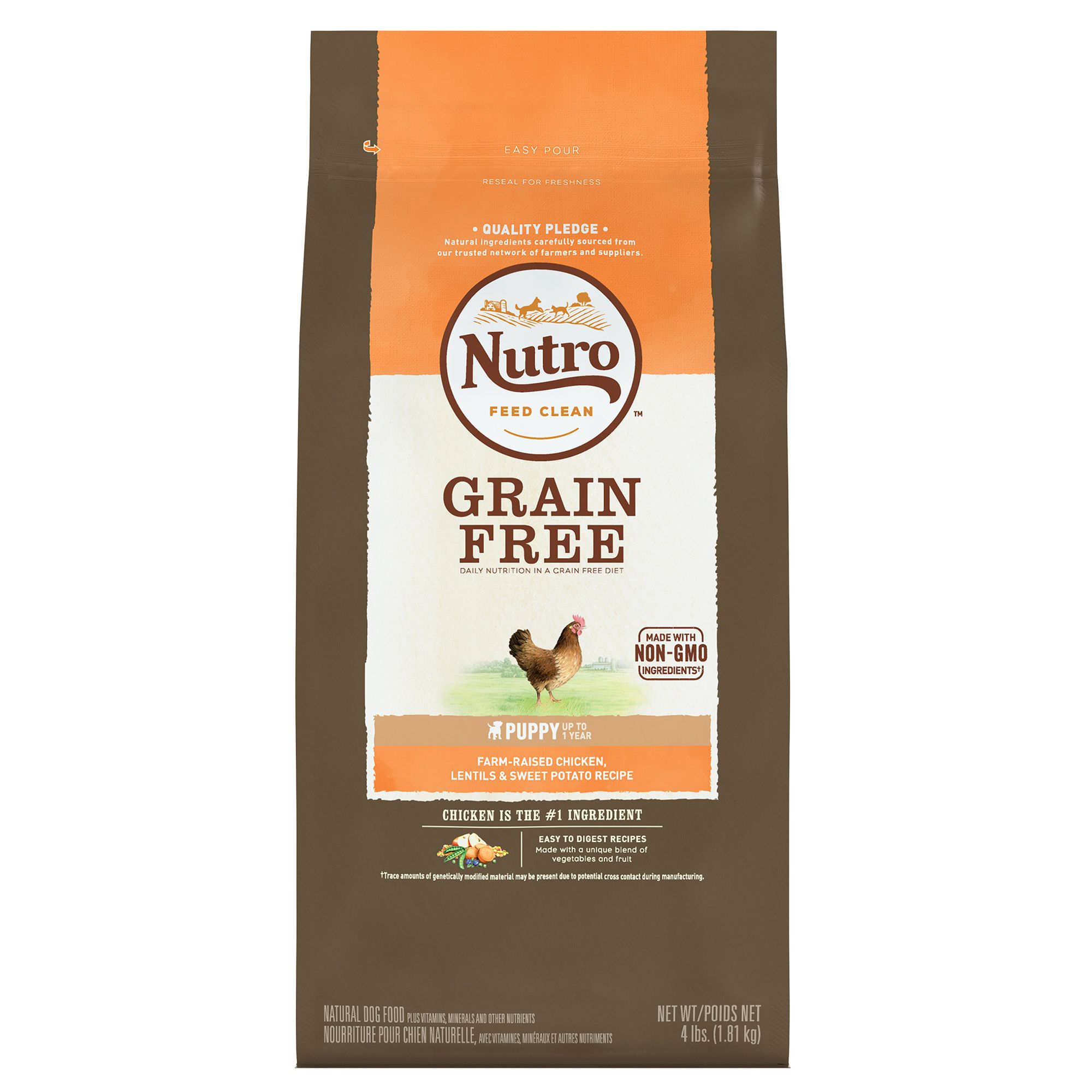 Nutro, Puppy Food - Natural, Grain Free, Non-GMO, Chicken, Lentils and Sweet Potato size: 4 Lb, Dry, Puppy (0-12 months) 5263854