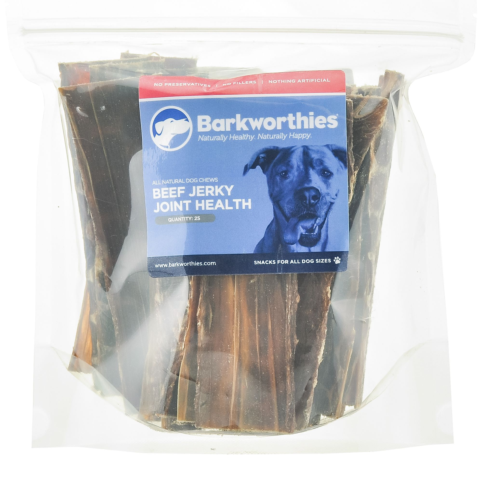 Barkworthies Beef Jerky Dog Chew Natural Joint Health Size 25 Count