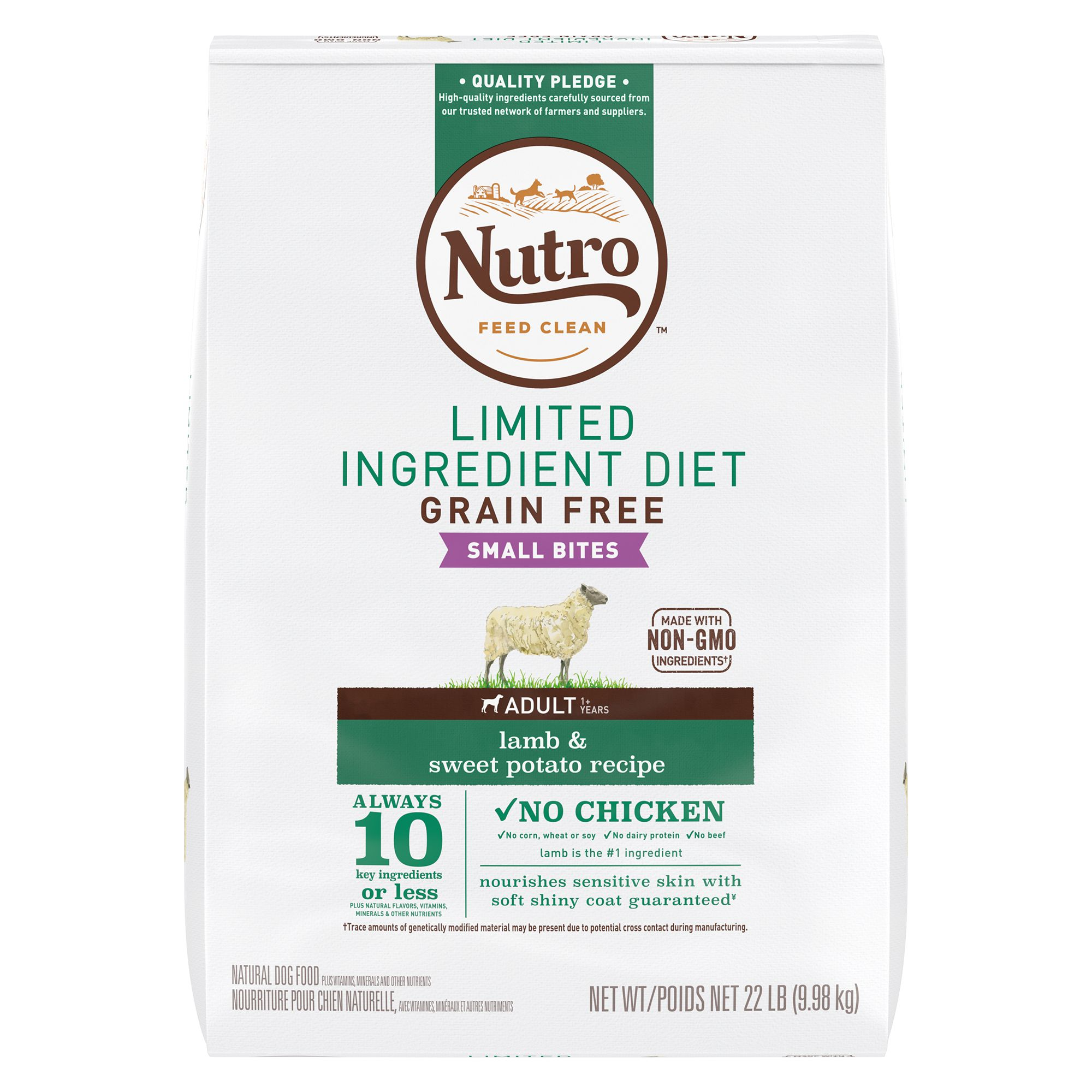 Nutro Limited Ingredient Diet Small Bites Dog Food Natural Grain Free Lamb And Sweet Potato Size 22 Lb