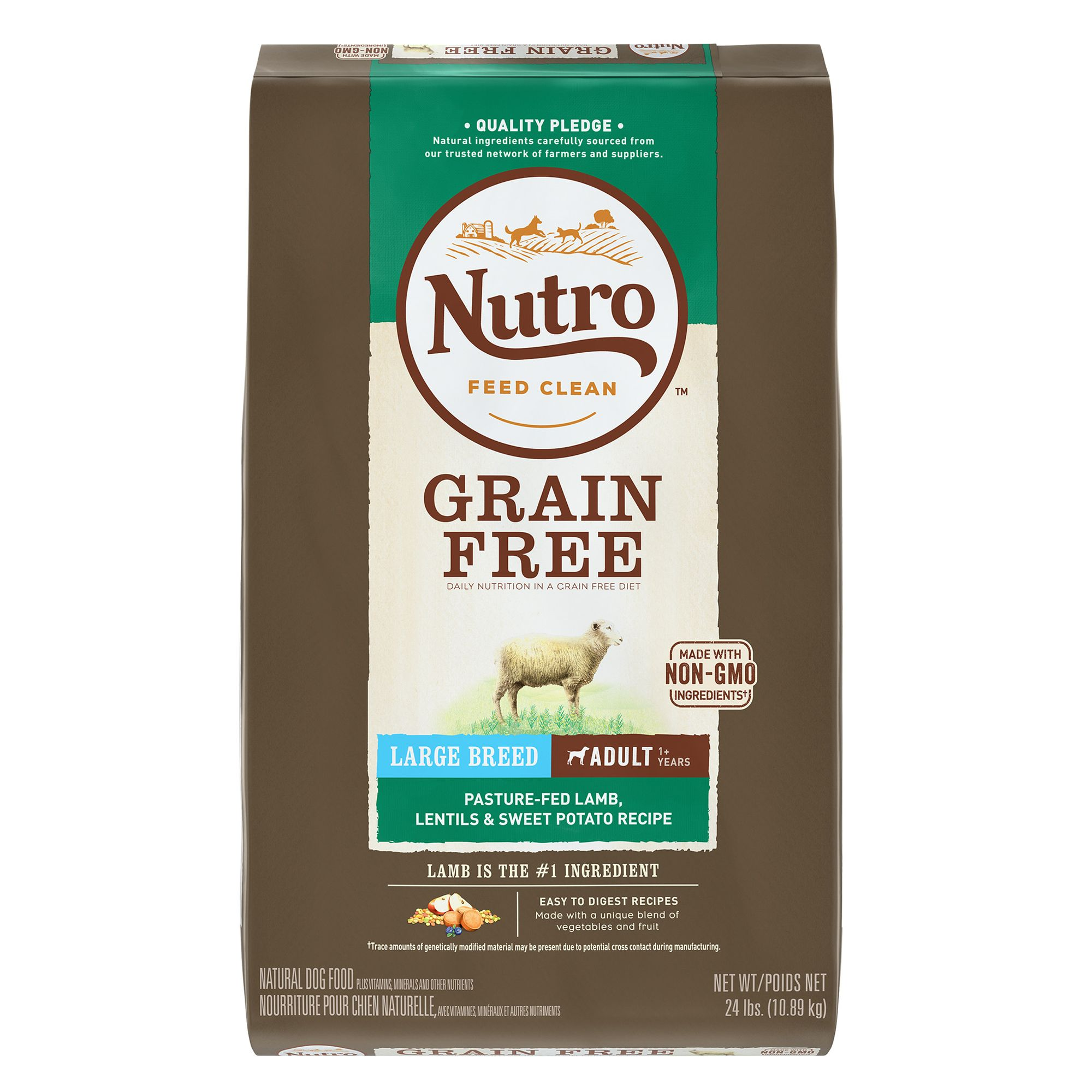 Nutro, Large Breed Adult Dog Food - Natural, Grain Free, Non-GMO, Lamb, Lentils and Sweet Potato size: 24 Lb 5264037