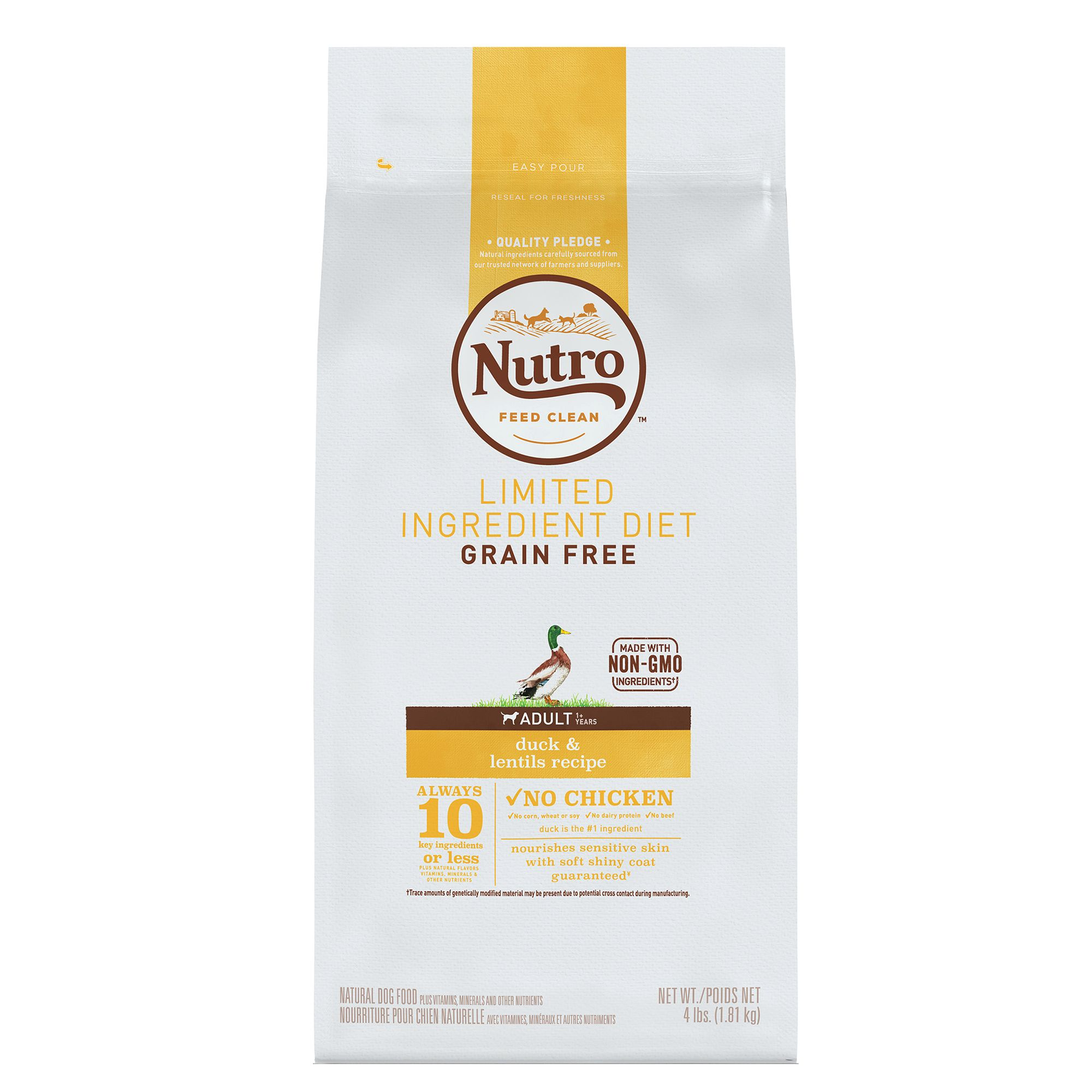 Nutro Adult Dog Food Natural Limited Ingredient Grain Free Non Gmo Duck And Lentils Size 4 Lb