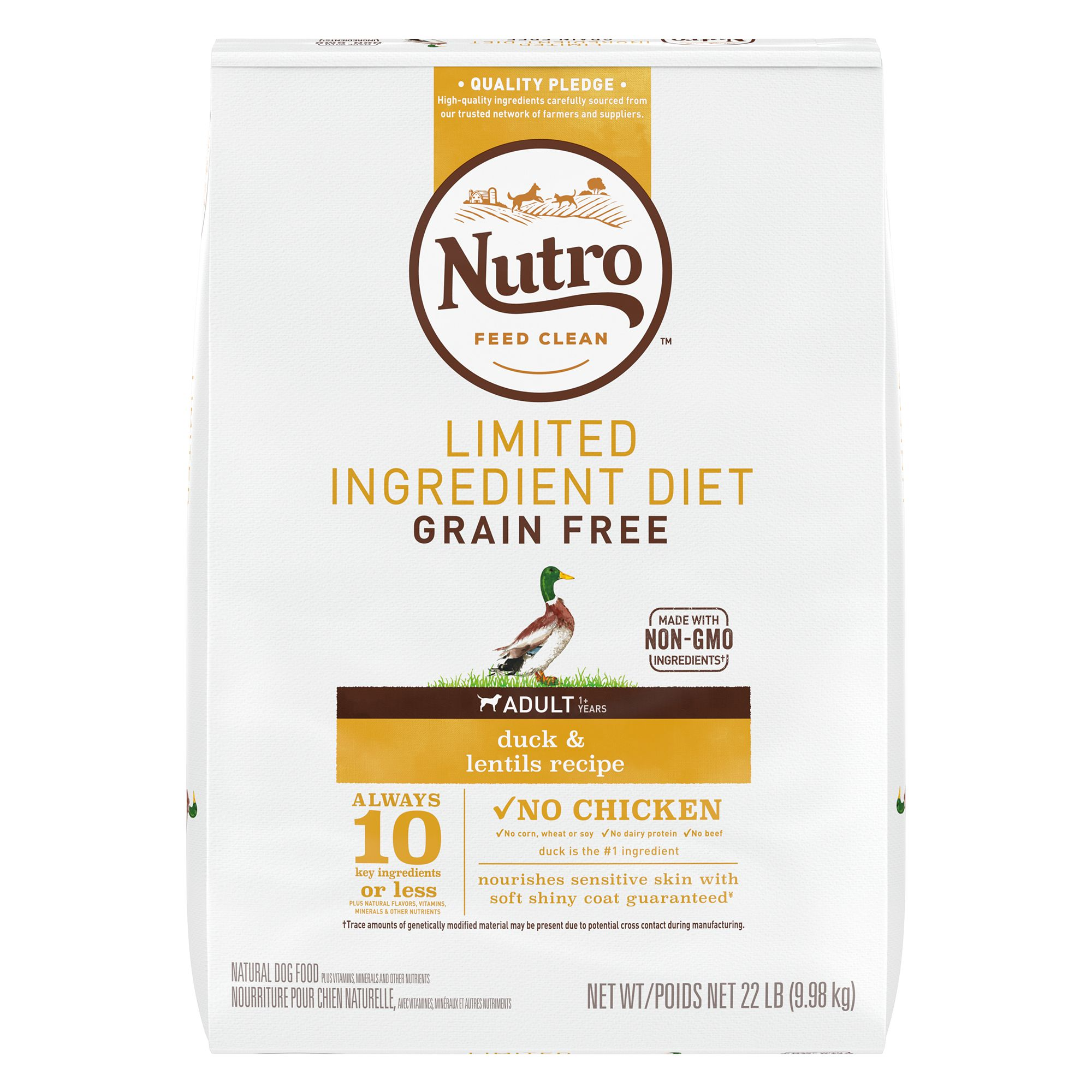 Nutro Adult Dog Food Natural Limited Ingredient Grain Free Non Gmo Duck And Lentils Size 22 Lb
