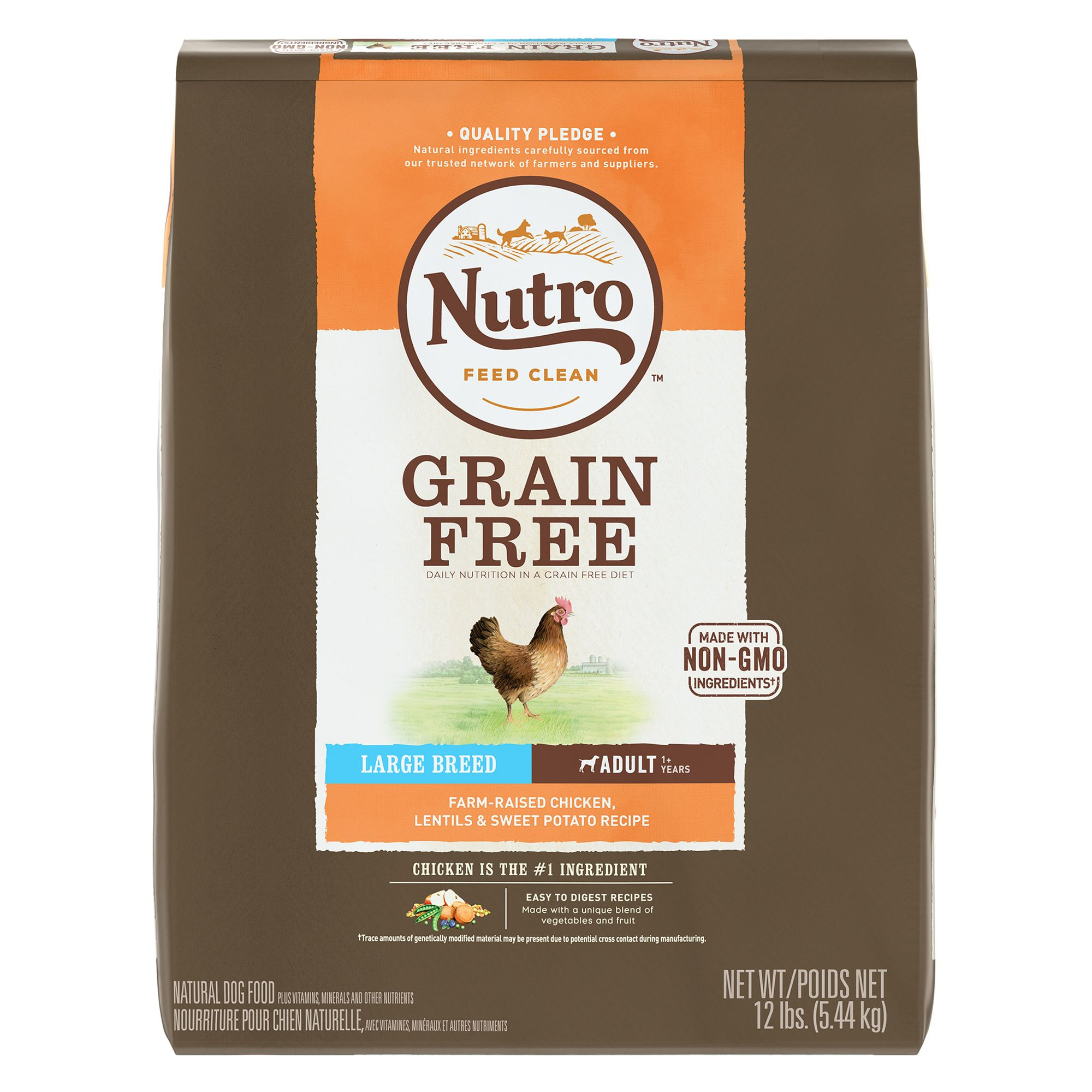 Nutro, Large Breed Adult Dog Food - Natural, Grain Free, Non-GMO, Chicken, Lentils and Sweet Pot size: 12 Lb 5264080