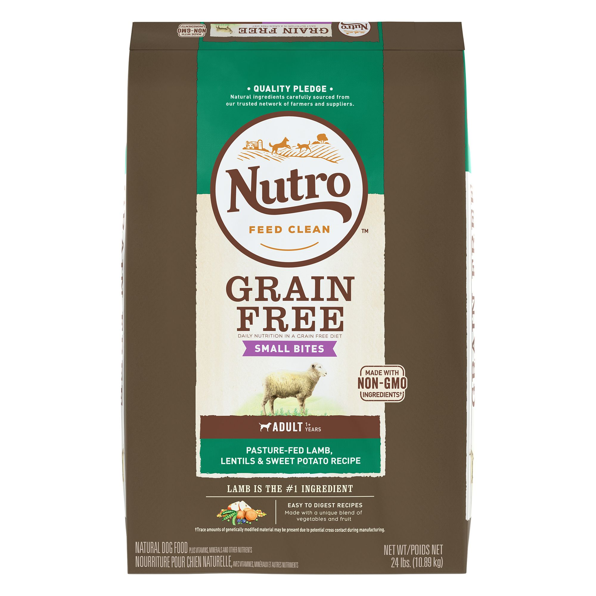 Nutro, Small Bites Adult Dog Food - Natural, Grain Free, Non-GMO, Lamb, Lentils and Sweet Potato size: 24 Lb 5264081