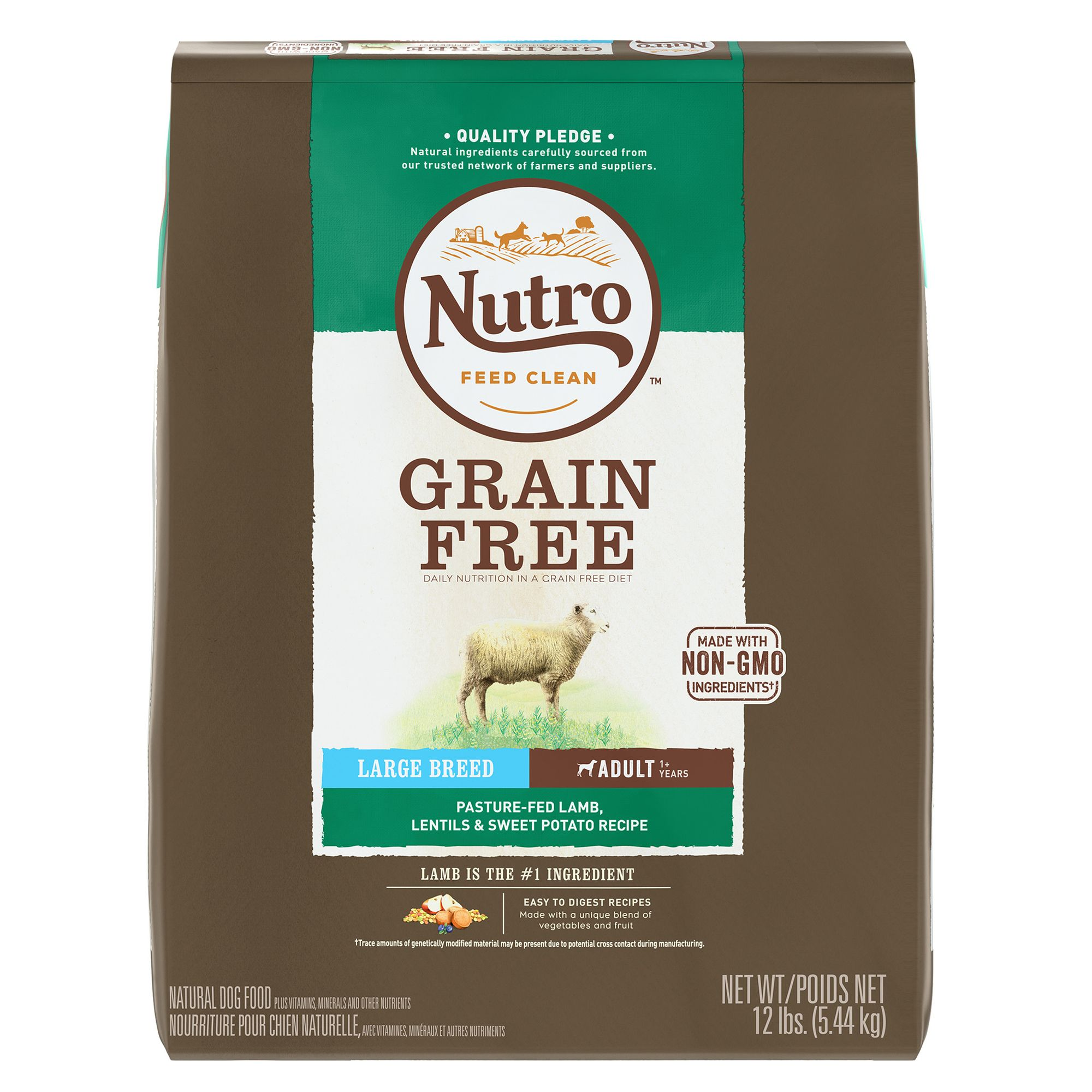 Nutro, Large Breed Adult Dog Food - Natural, Grain Free, Non-GMO, Lamb, Lentils and Sweet Potato size: 12 Lb 5264082