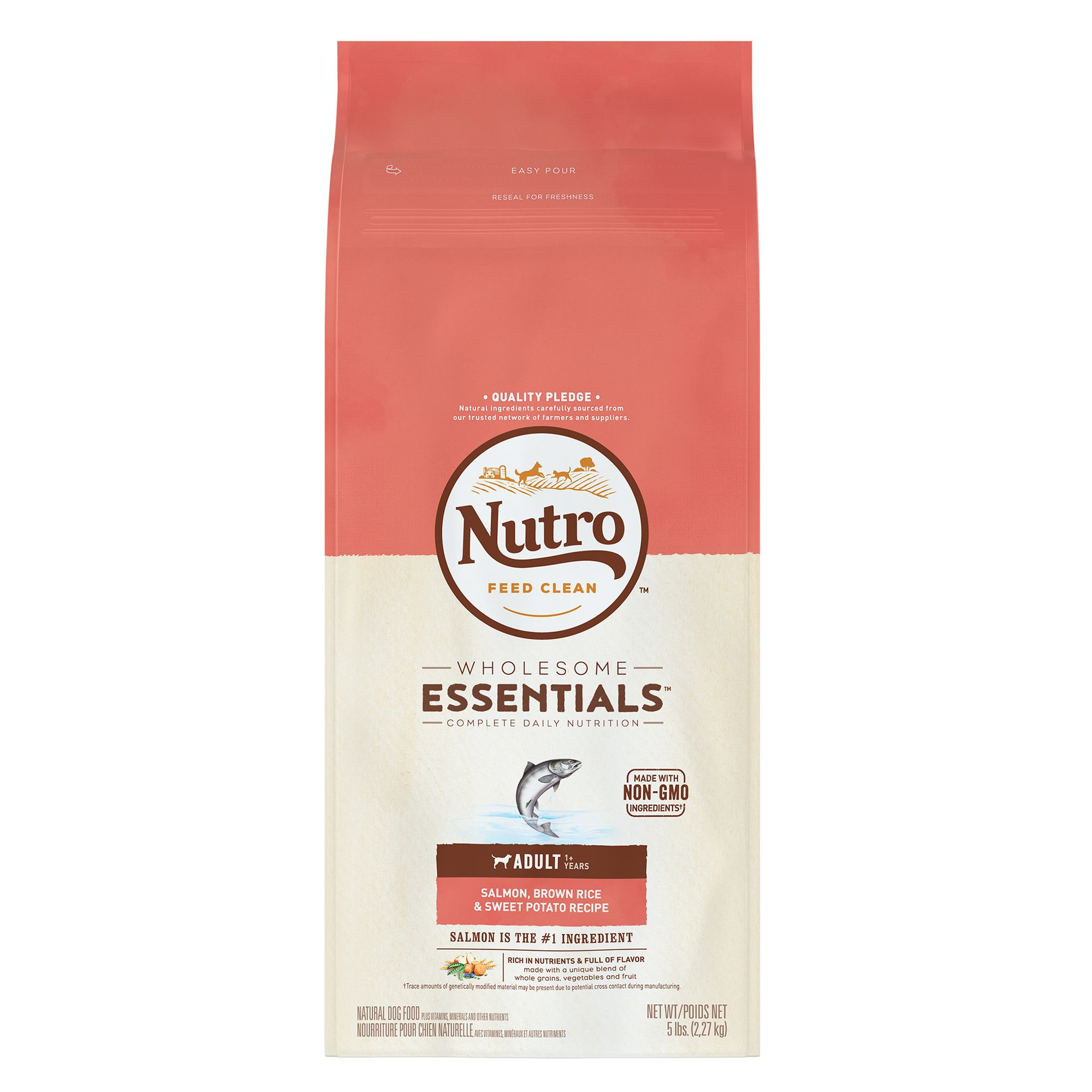 Nutro, Wholesome Essentials Adult Dog Food - Natural, Salmon, Brown Rice and Sweet Potato size: 5 Lb, Dry, (1-7 years) 5264083