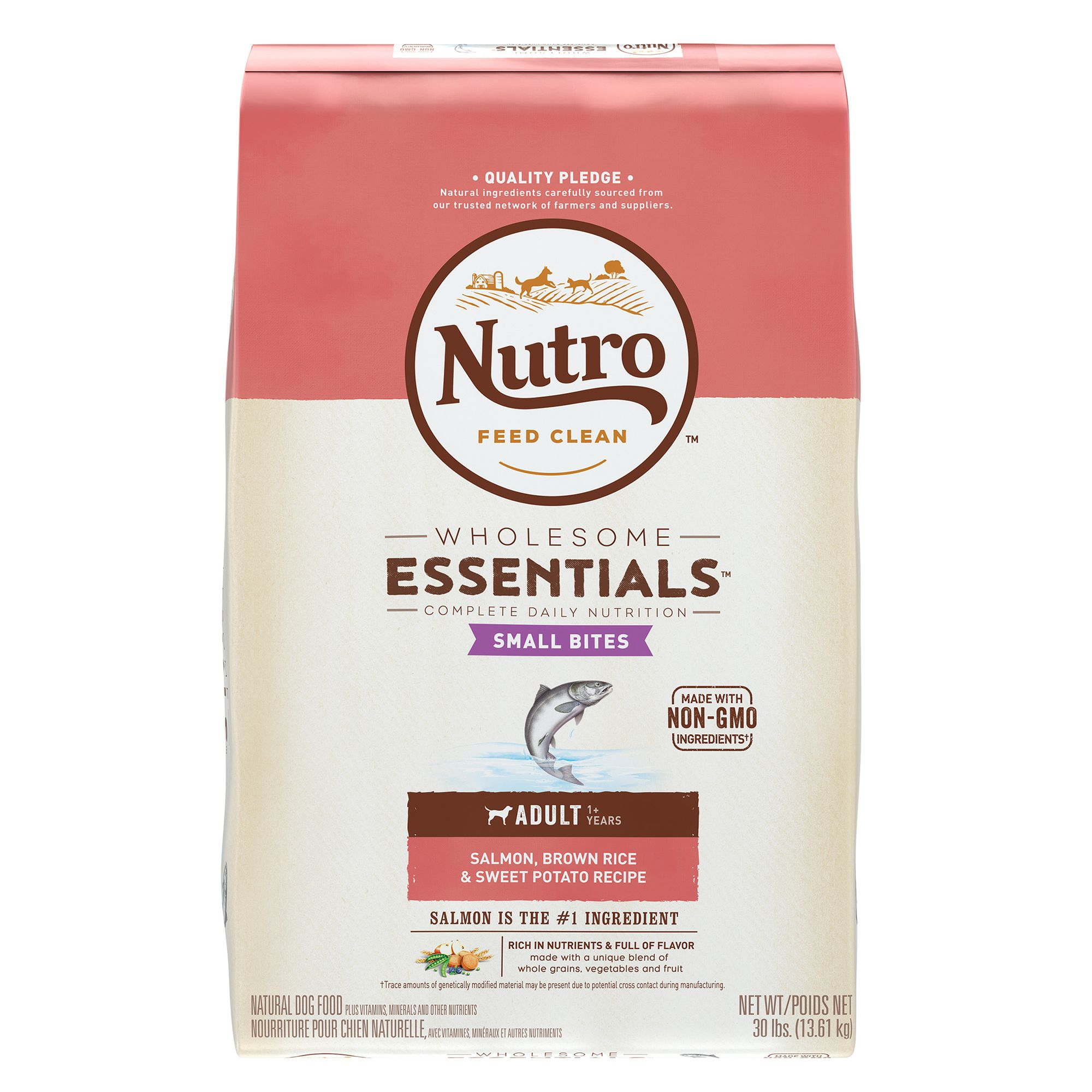 Nutro Wholesome Essentials Small Bites Adult Dog Food Salmon Brown Rice And Sweet Potato Size 30 Lb