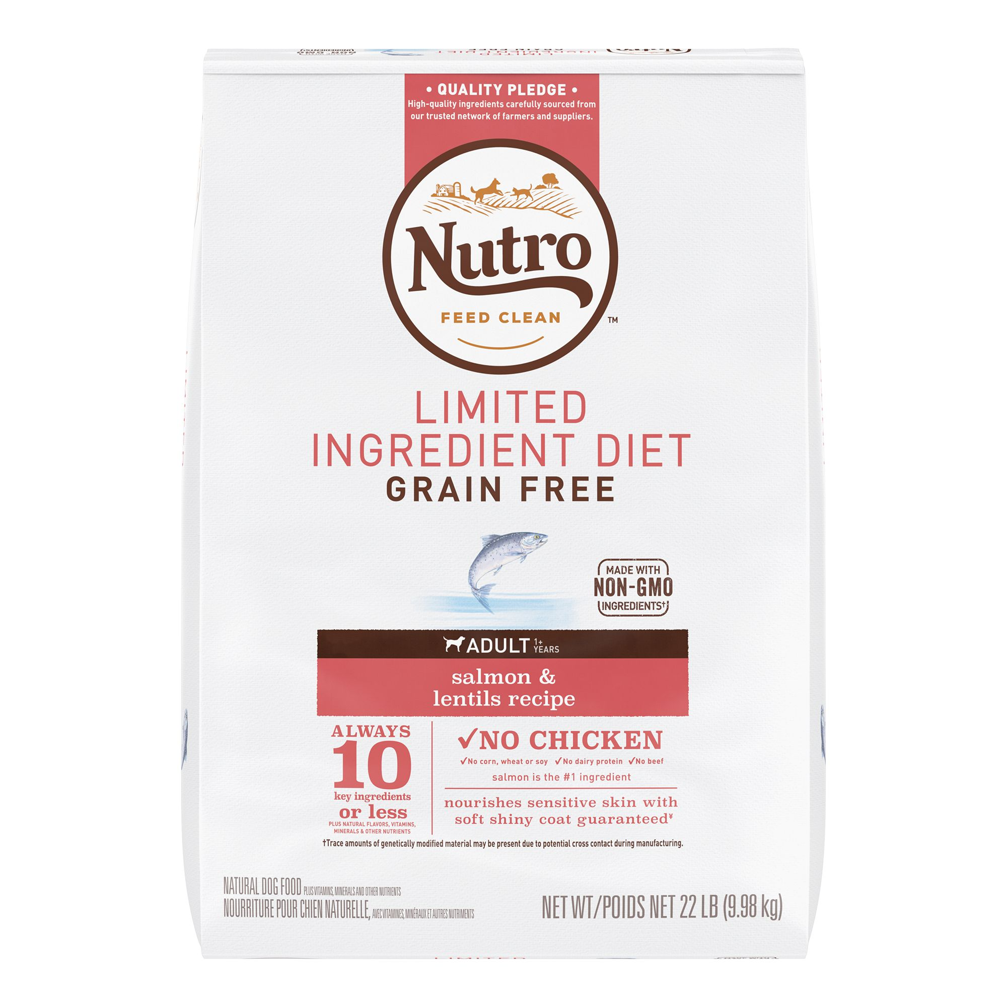 Nutro Limited Ingredient Diet Adult Dog Food Natural Grain Free Non Gmo Salmon And Lentils Size 22 Lb