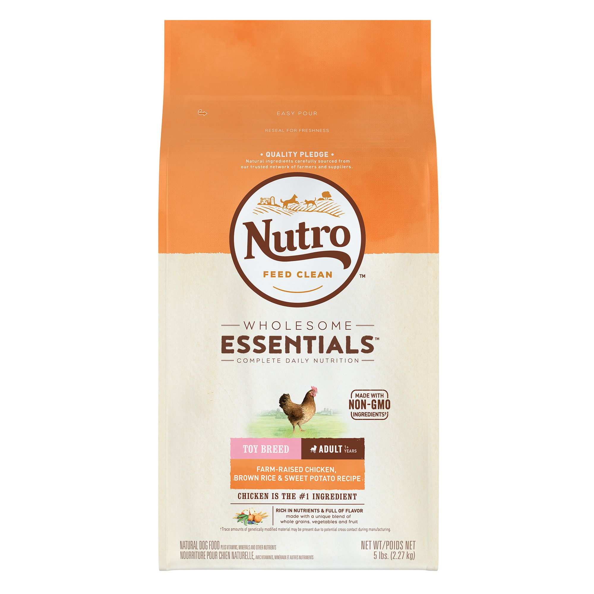 Nutro Wholesome Essentials Toy Breed Adult Dog Food Natural Chicken Brown Rice And Sweet Pot Size 5 Lb