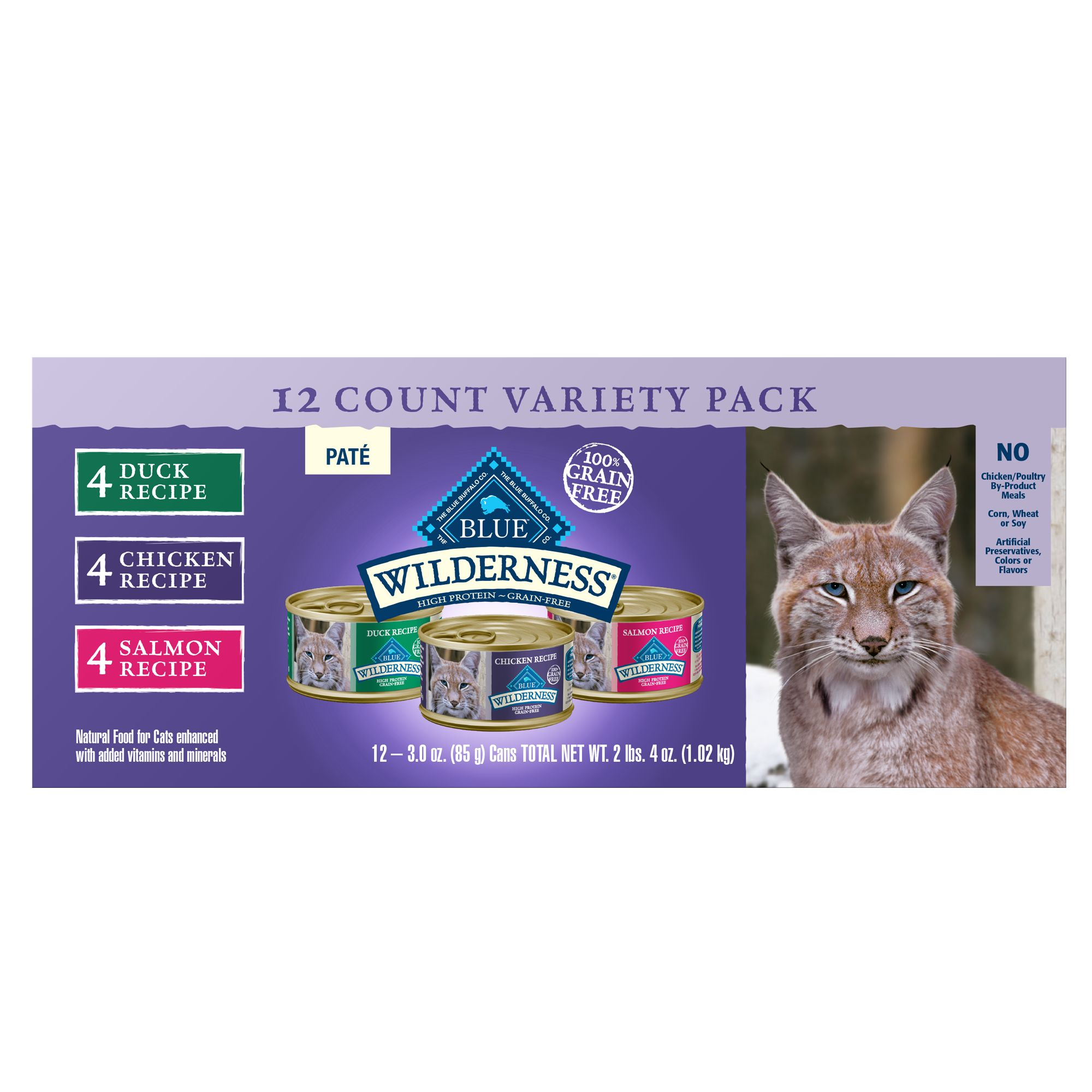 Blue Wilderness Cat Food - Natural, Grain Free, Variety Pack, 12ct size: 3 Oz, Blue Buffalo 5264529