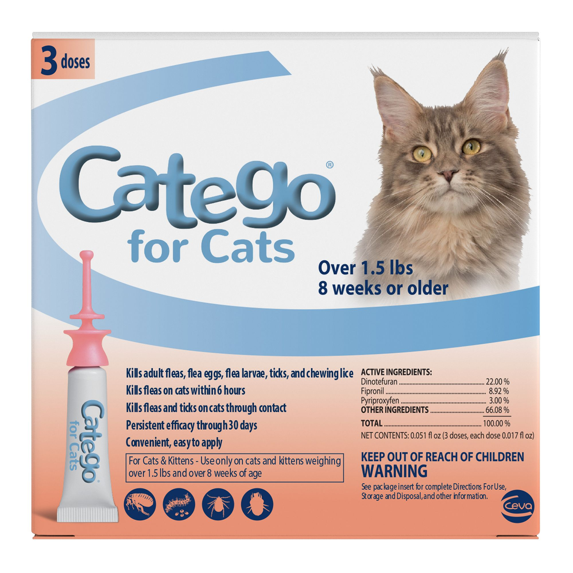 Catego Over 1.5 Lb Cat Flea Prevention And Treatment Size 3 Count