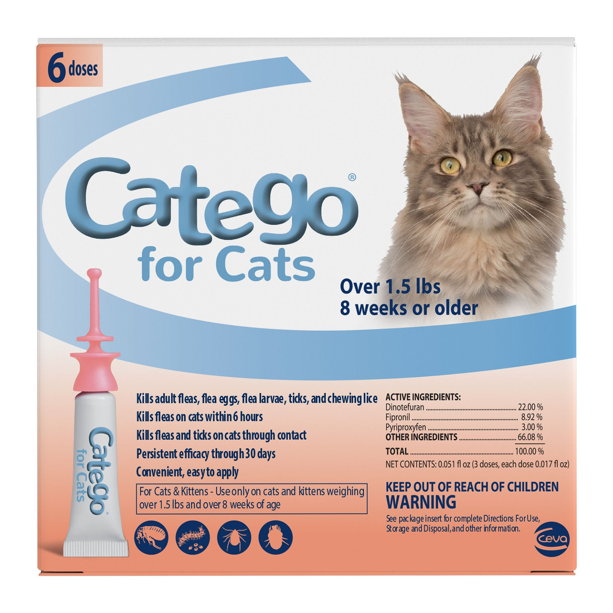 Catego Over 1.5 Lb Cat Flea Prevention And Treatment Size 6 Count