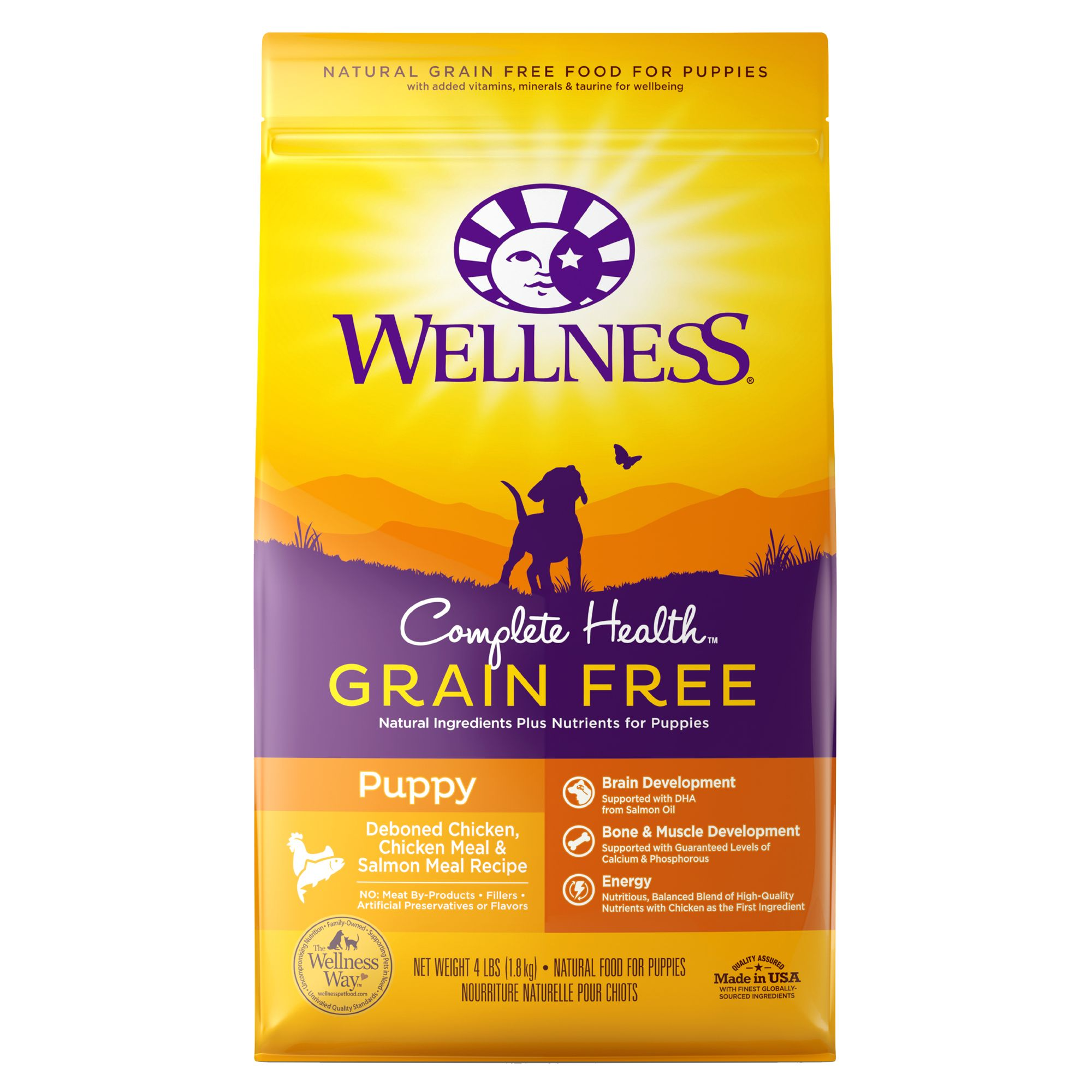 Wellness Complete Health Puppy Food - Natural, Grain Free, Chicken, Chicken and Salmon Meal size: 4 Lb 5264954