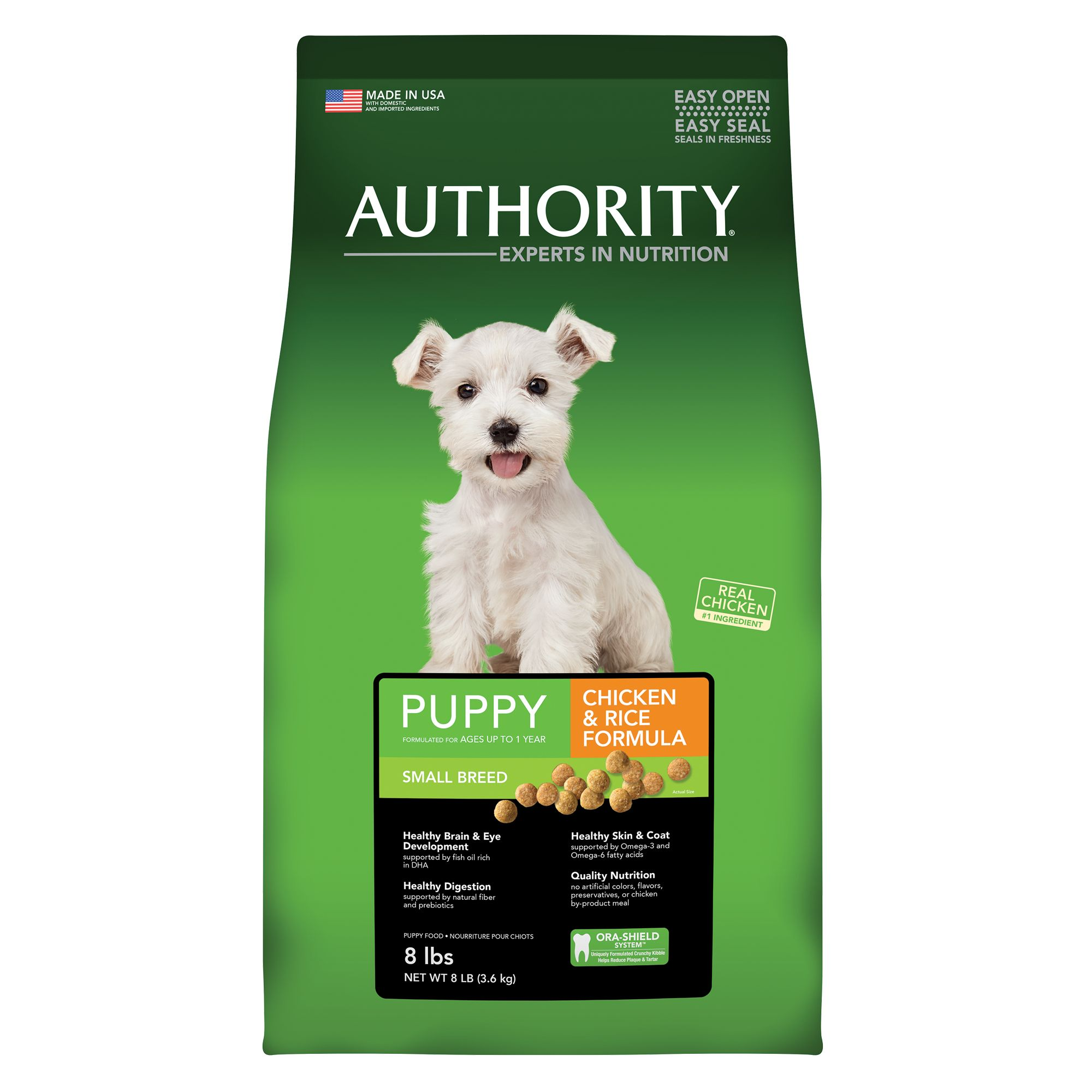 Authority Small Breed Puppy Food - Chicken and Rice size: 8 Lb, Kibble, Puppy (0-12 months), Deboned Chicken 5264972