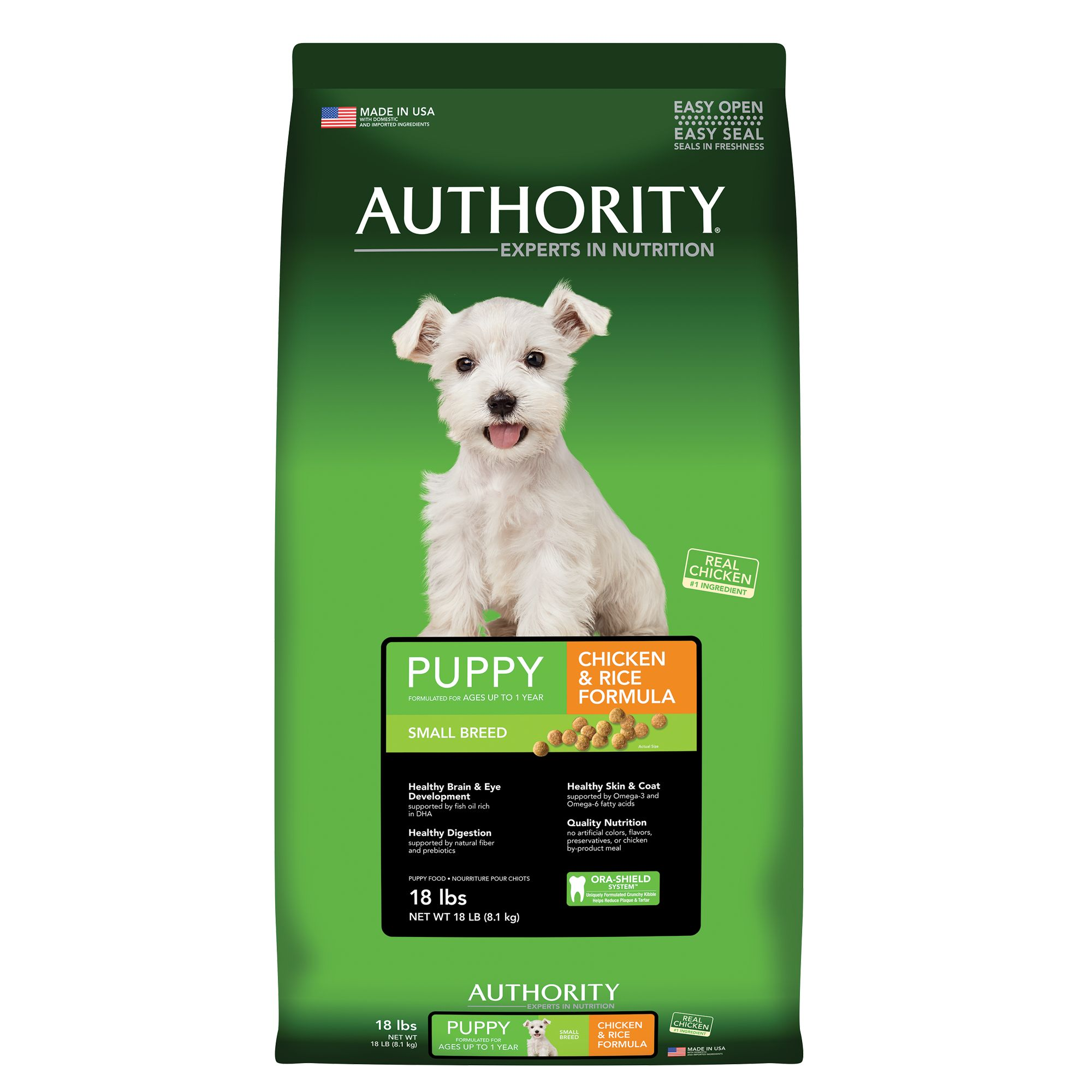 Authority Small Breed Puppy Food - Chicken and Rice size: 18 Lb, Kibble, Puppy (0-12 months), Deboned Chicken 5264973