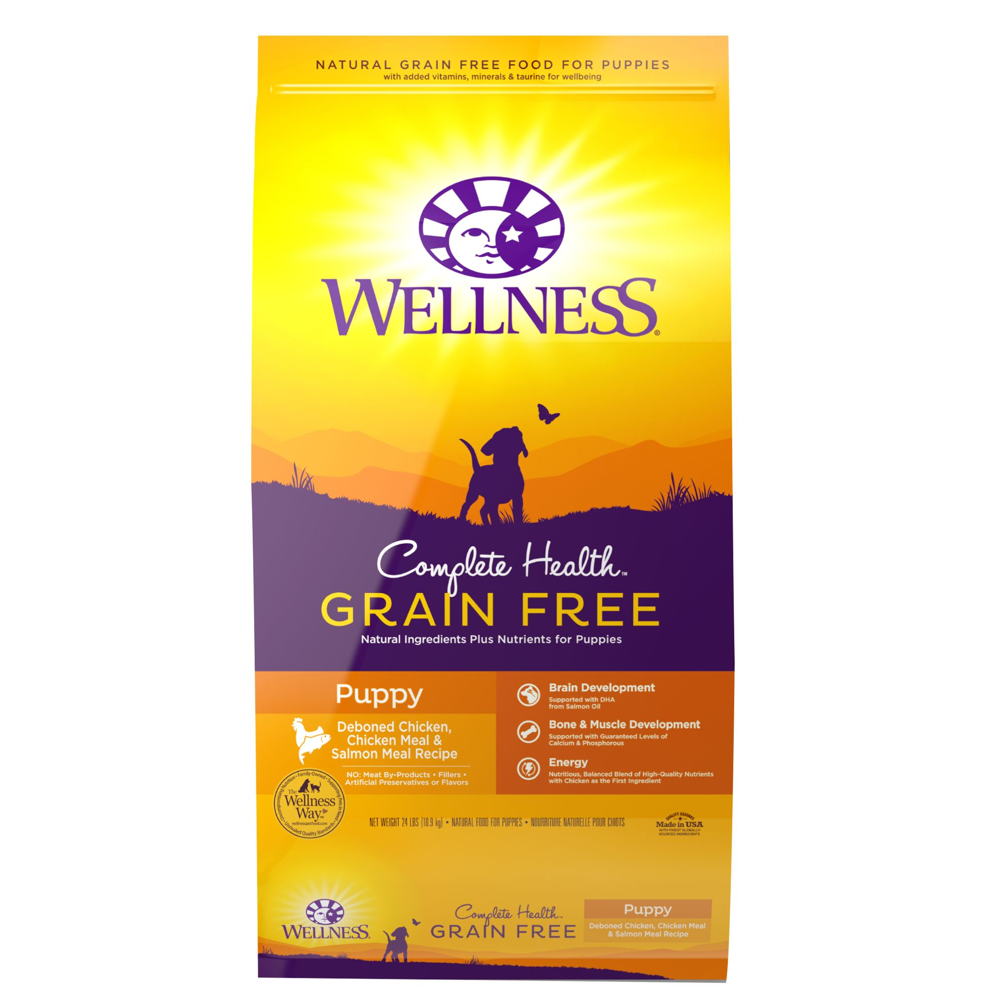 Wellness Complete Health Puppy Food - Natural, Grain Free, Chicken, Chicken and Salmon Meal size: 24 Lb 5264995
