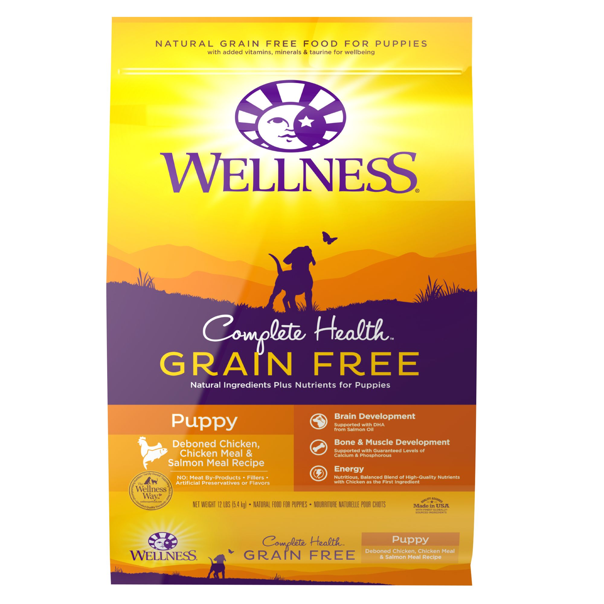 Wellness Complete Health Puppy Food - Natural, Grain Free, Chicken, Chicken and Salmon Meal size: 12 Lb 5265234