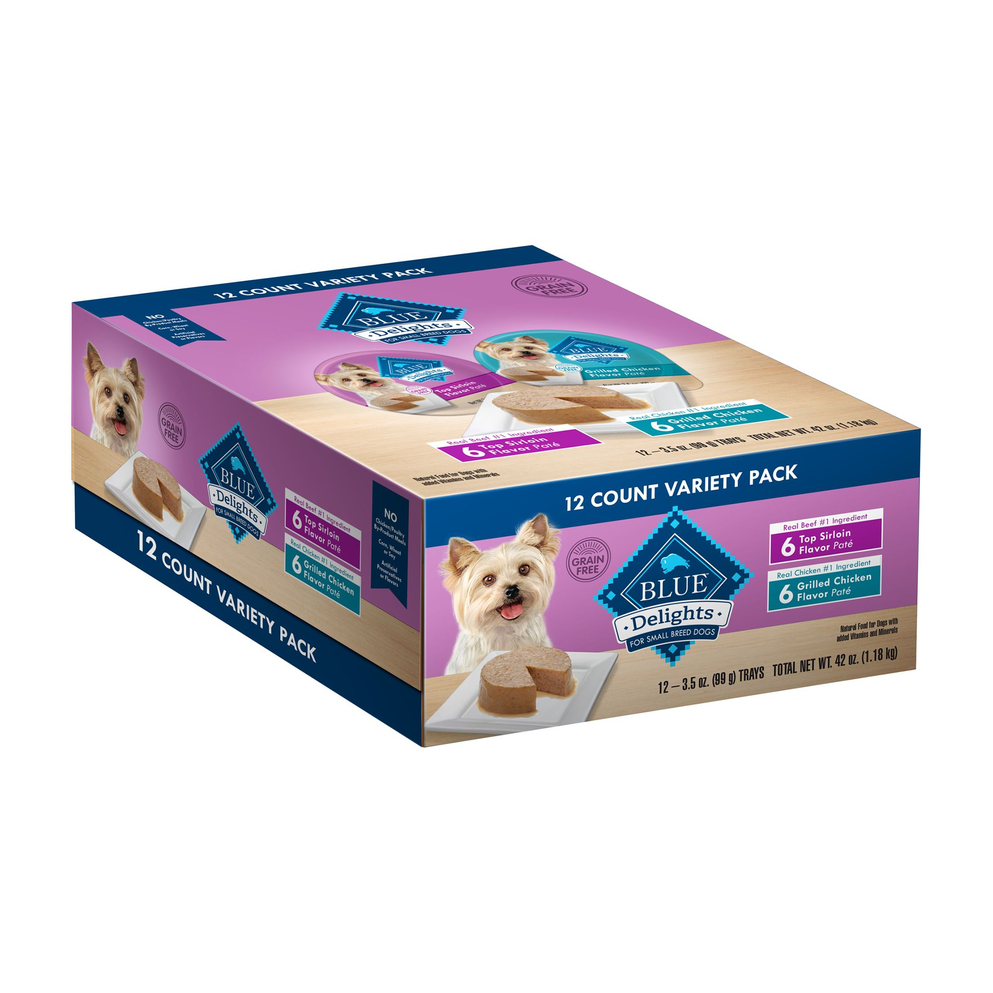 Blue Divine Delights, Dog Food - Natural, Variety Pack, 12ct