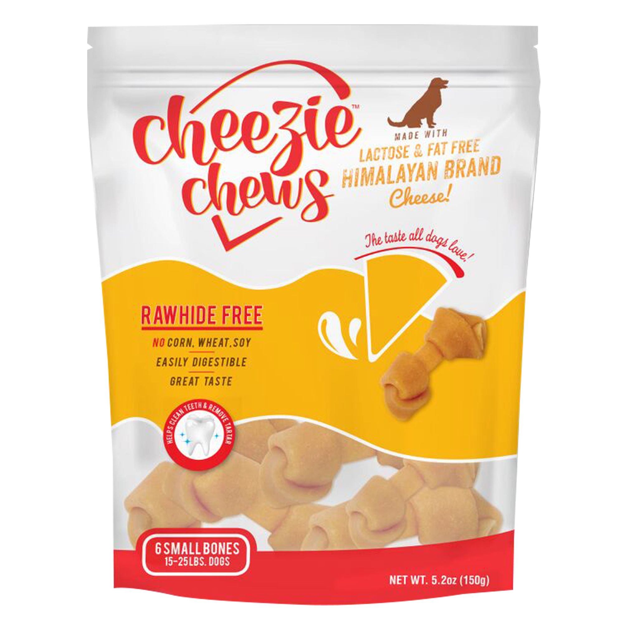 Cheezie Chews Rawhide Free Small Dog Treat - Cheese size: 6 Count, Natural Cheese, Rawhide Free Knotted Chew, Adult and Senior, Himalayan Brand Cheese (Skim Milk, Lime, Enzymes) 5265664