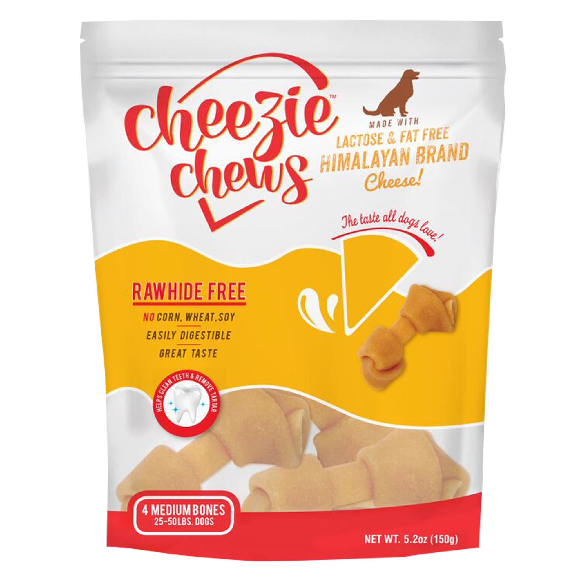 Cheezie Chews Rawhide Free Medium Dog Treat - Cheese size: 4 Count, Natural Cheese, Rawhide Free Knotted Chew, Adult and Senior, Himalayan Brand Cheese (Skim Milk, Lime, Enzymes) 5265975