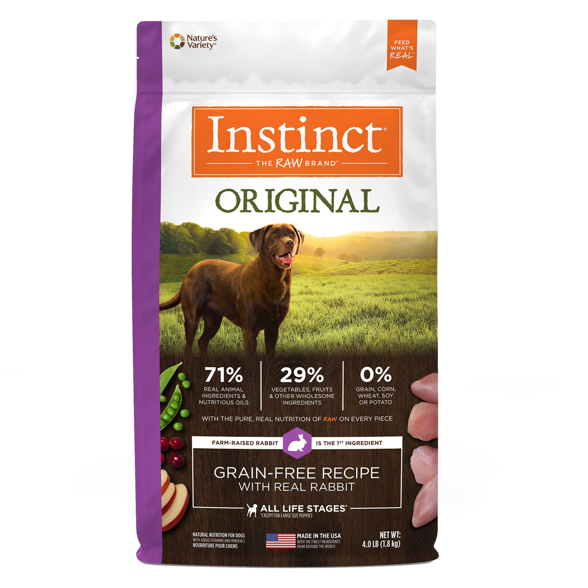 Natures Variety Instinct Original Dog Food Natural Grain Free Raw Rabbit Size 4 Ft