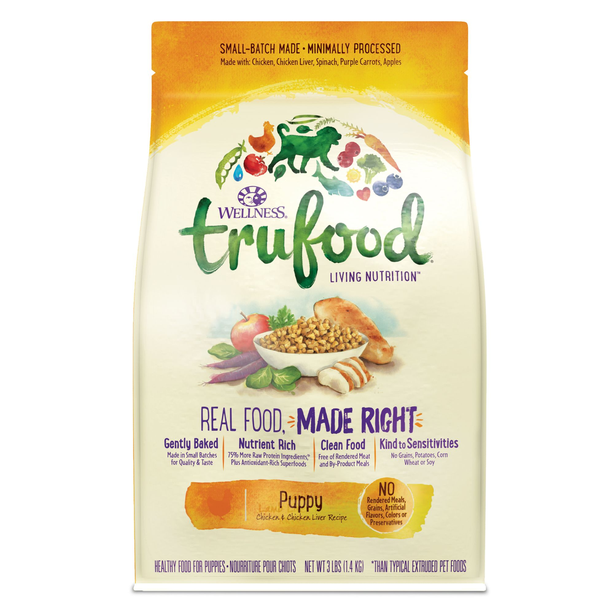 Wellness TruFood Baked Nuggets Puppy Food - Natural, Grain Free, Chicken and Chicken Liver size: 3 Lb 5266276