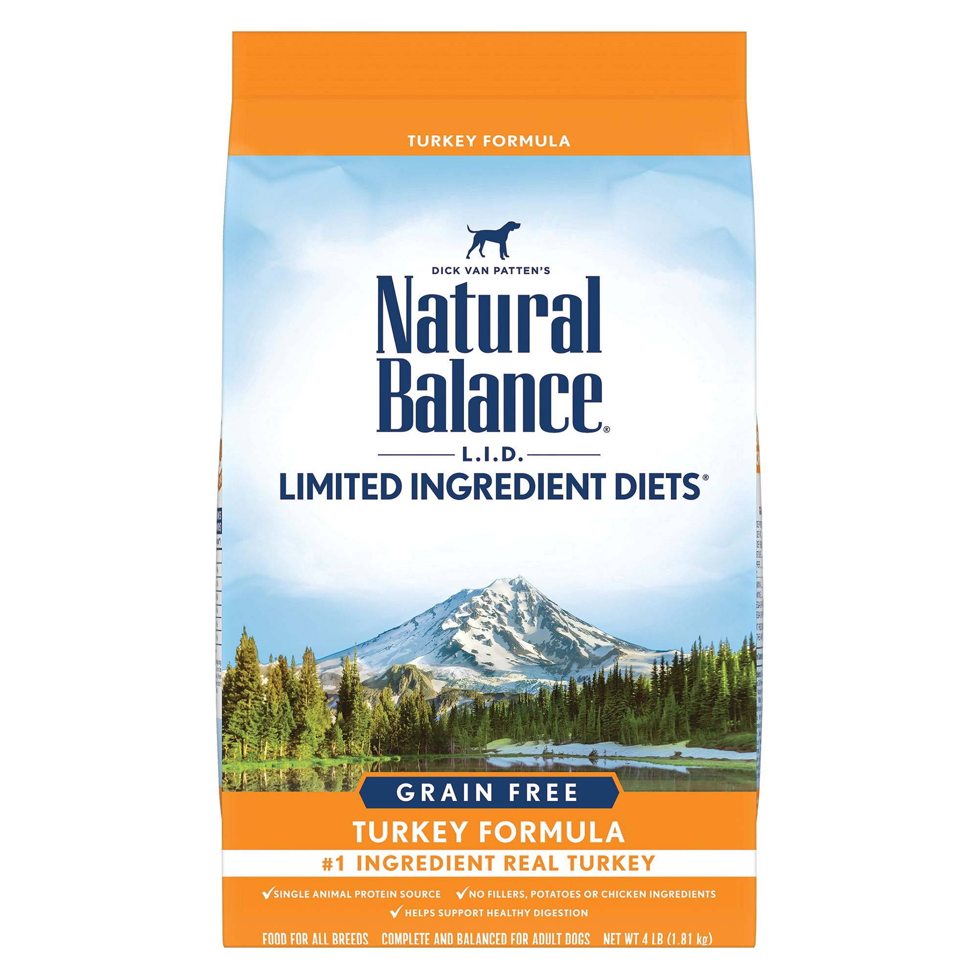 Natural Balance Limited Ingredient Diets High Protein Dog Food - Natural, Grain Free, Turkey size: 4 Lb, Kibble, Adult 5266298
