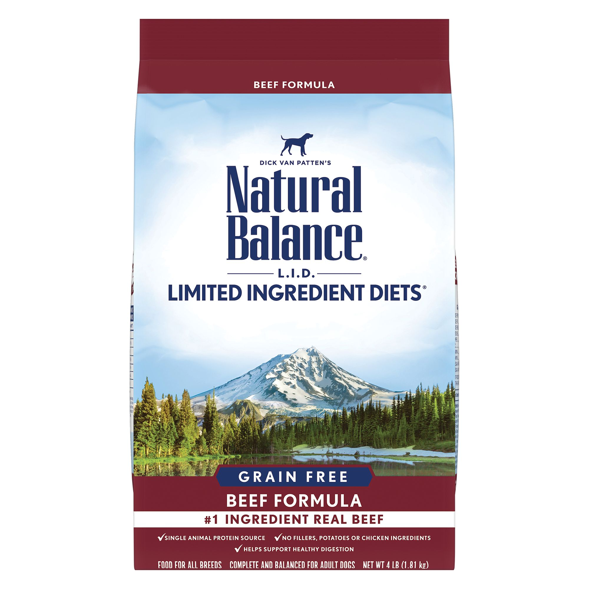 Natural Balance Limited Ingredient Diets High Protien Adult Dog Food - Natural, Beef size: 4 Lb 5266304