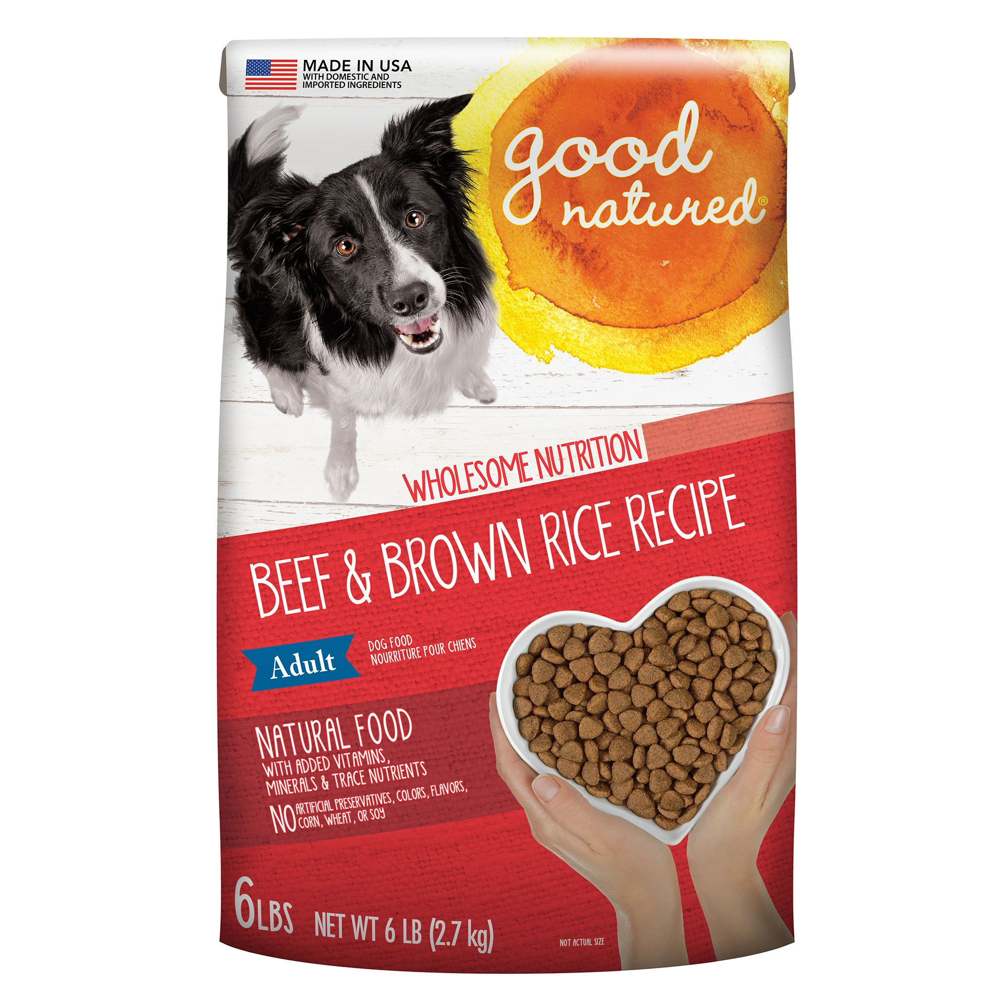 Good Natured, Grain Free Adult Dog Food - Natural, Beef and Brown Rice size: 6 Lb, Kibble 5266314