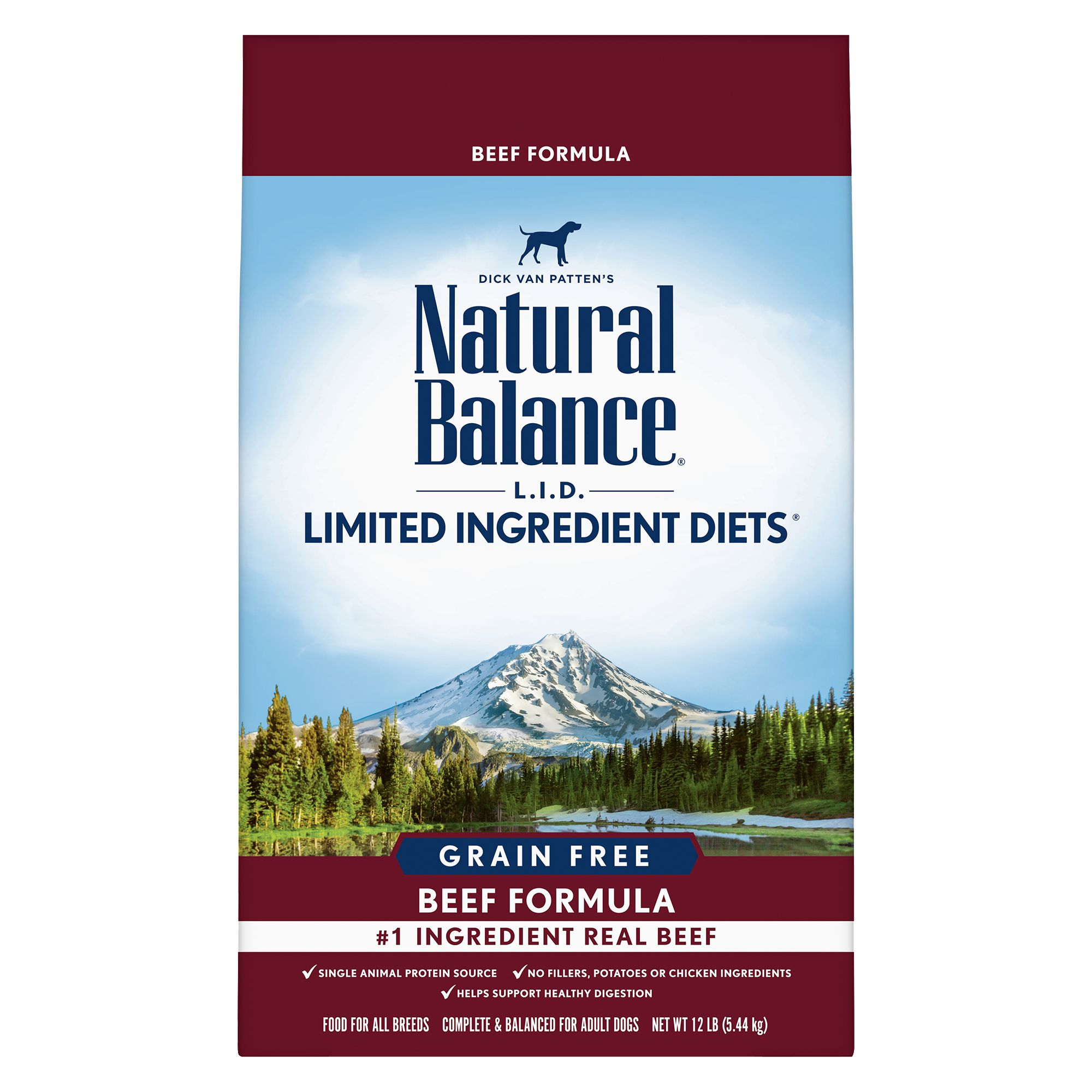 Natural Balance Limited Ingredient Diets High Protein Adult Dog Food - Natural, Beef size: 12 Lb, Kibble 5266425