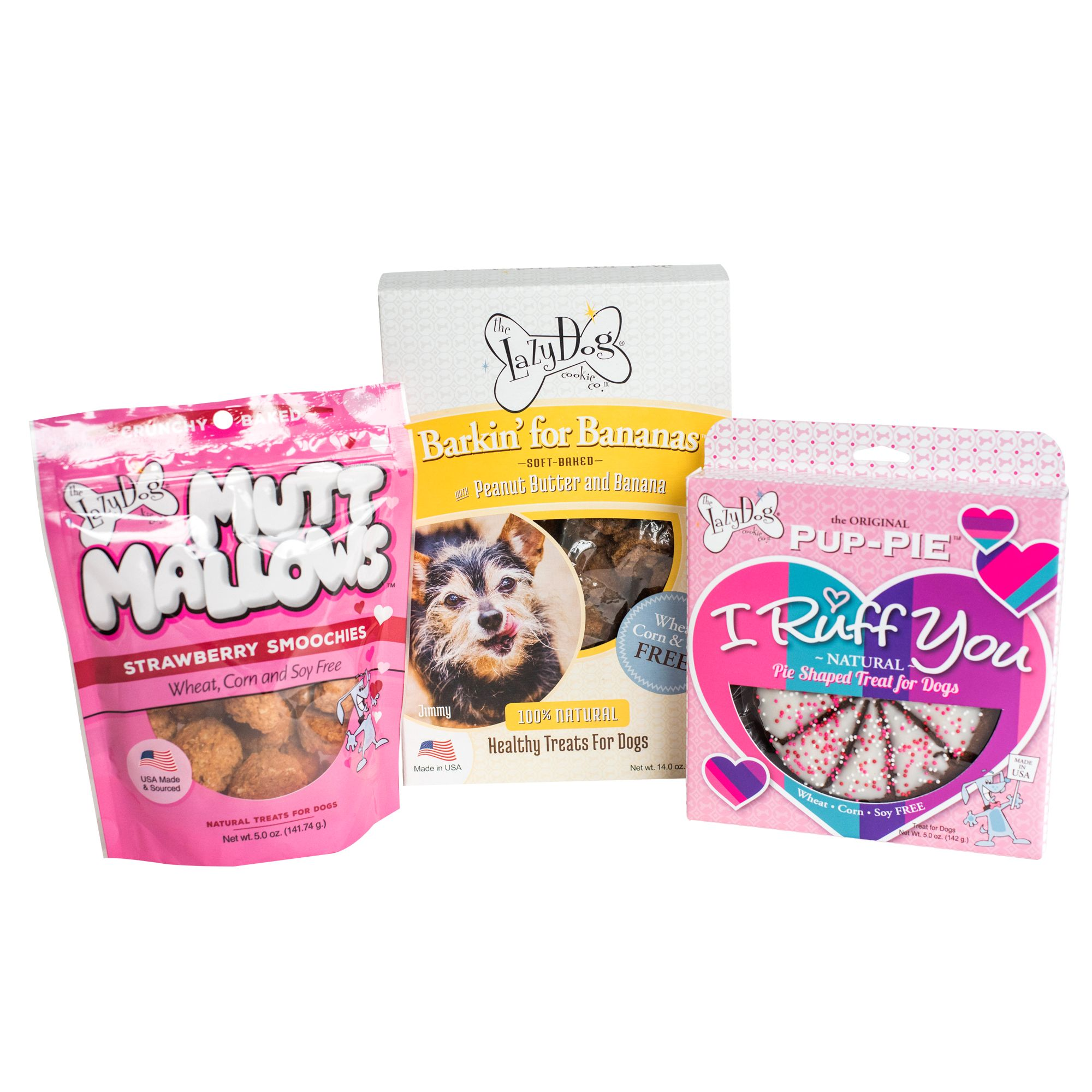 The Lazy Dog Cookie Co. I Ruff You Pup Pie Barkin For Bananas And Mutt Mallows Dog Treat Trio Set
