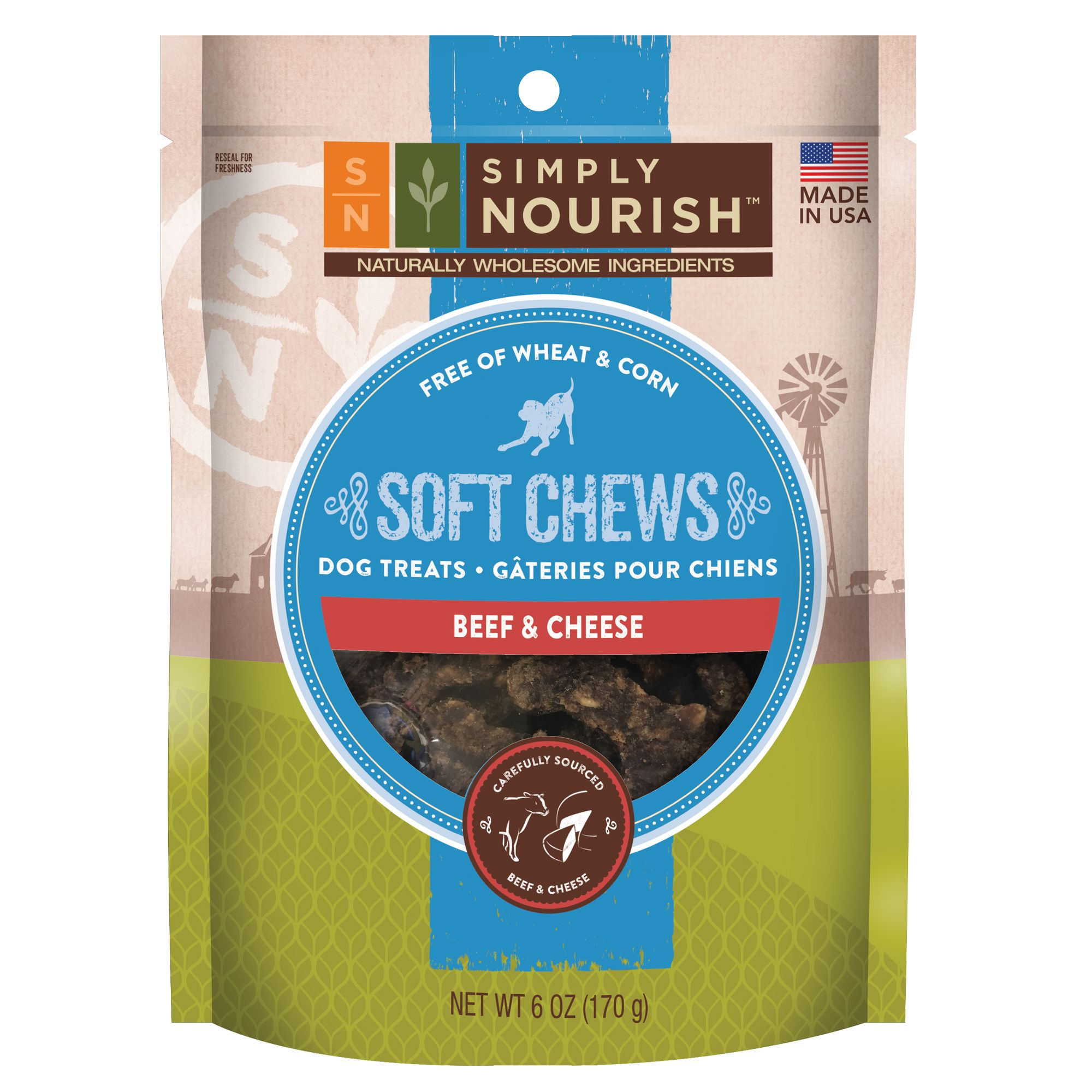 Simply Nourish, Soft Chews Dog Treat - Natural, Beef and Cheese size: 6 Oz, Chicken & Cheese, Adult 5266492
