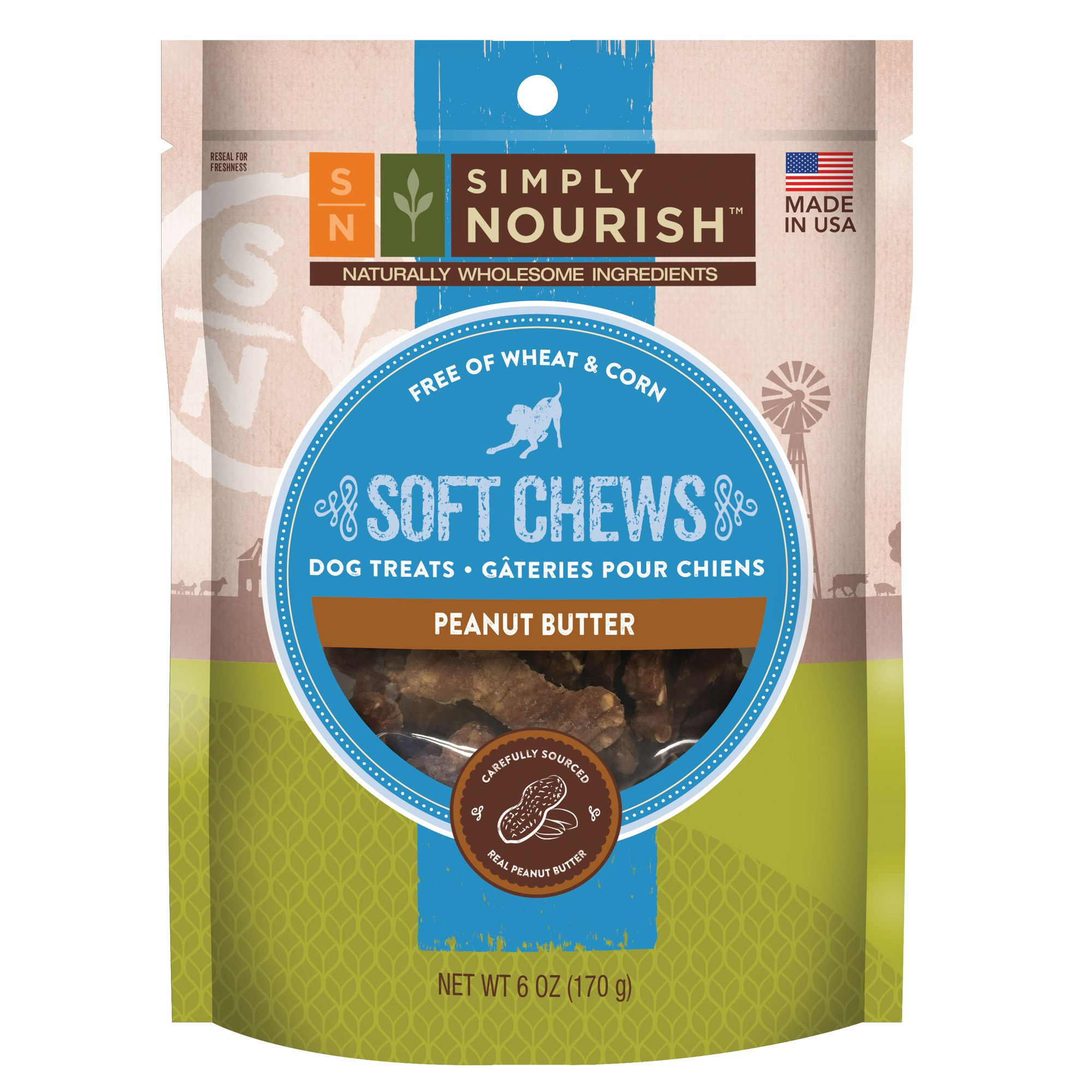 Simply Nourish, Soft Chews Dog Treat - Natural, Peanut Butter size: 6 Oz, Chicken & Cheese, Adult 5266493