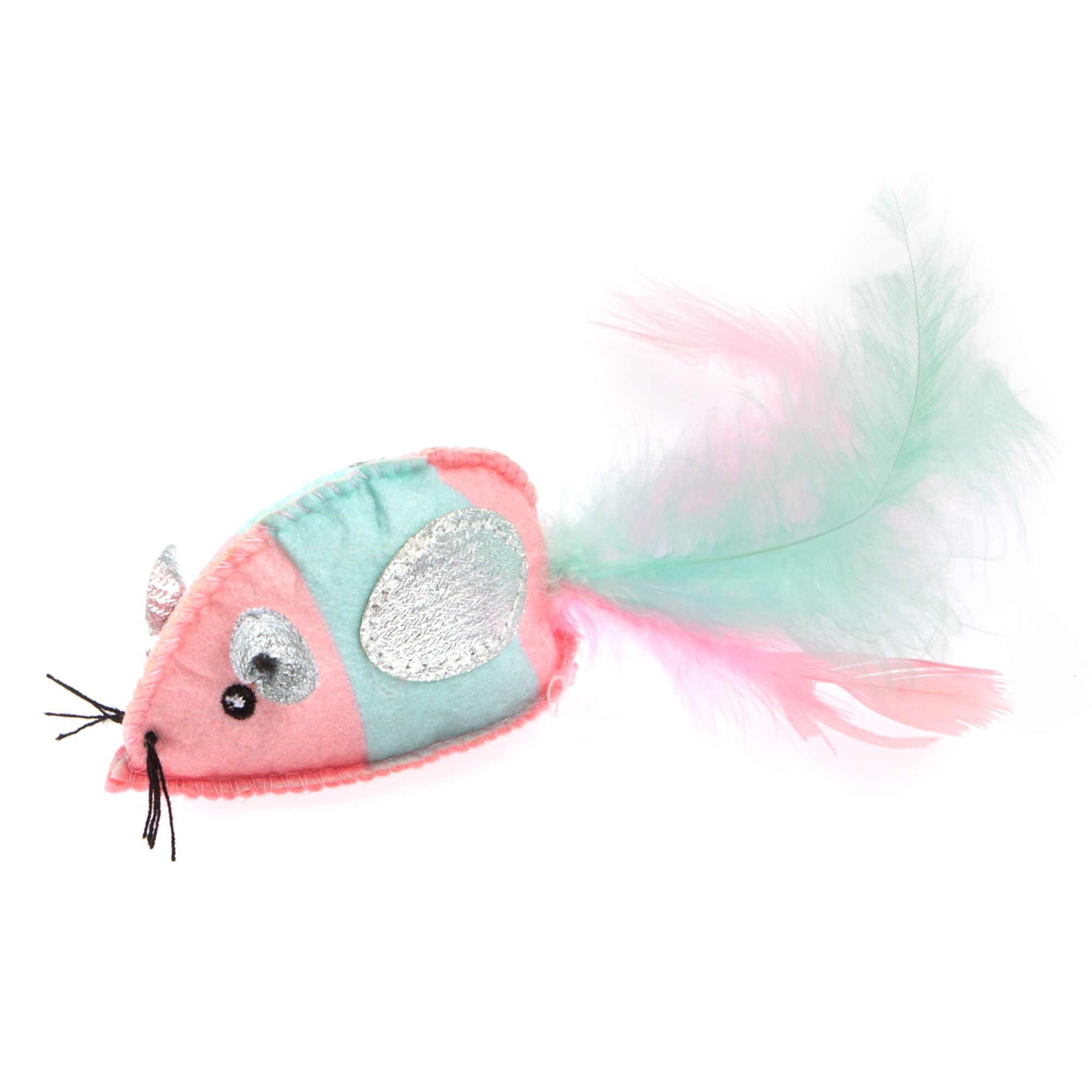 Whisker City Mouse with Feathers Cat Toy - Catnip, Plush 5267554