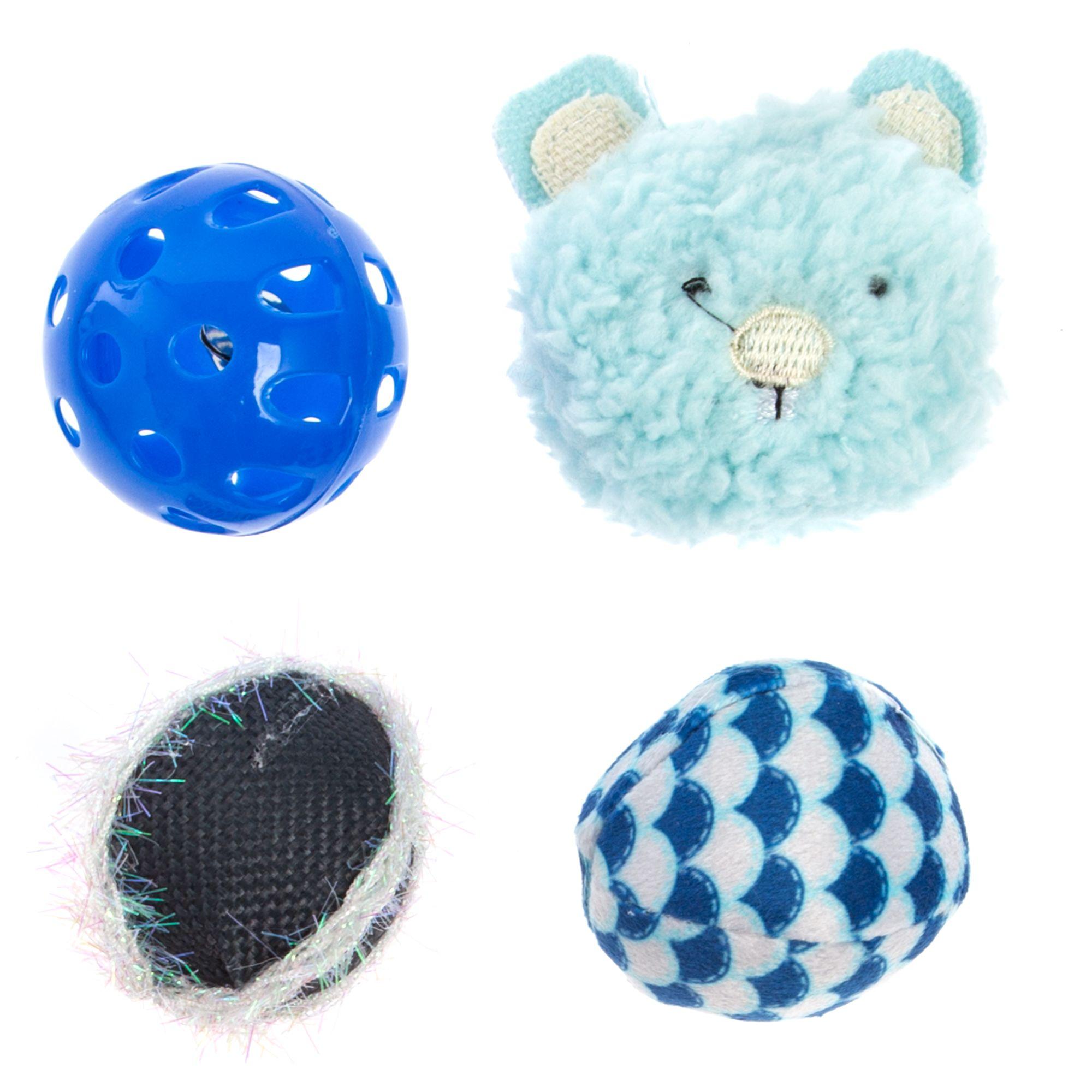 Whisker City Bear Ball Cat Toys - 4 Pack 5267599