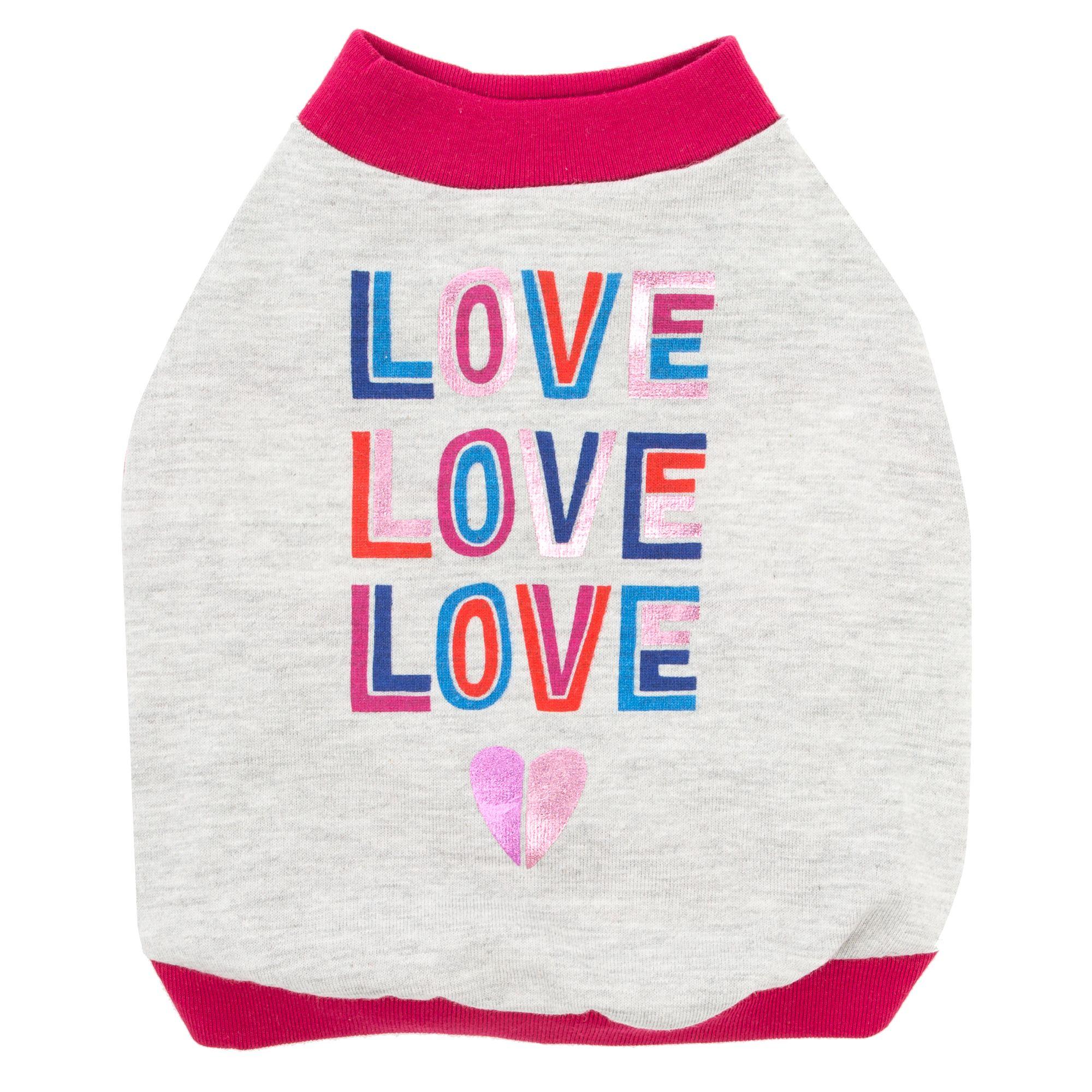 "Top Paw ""Love Love Love"" Dog Tee size: Small 5267942"