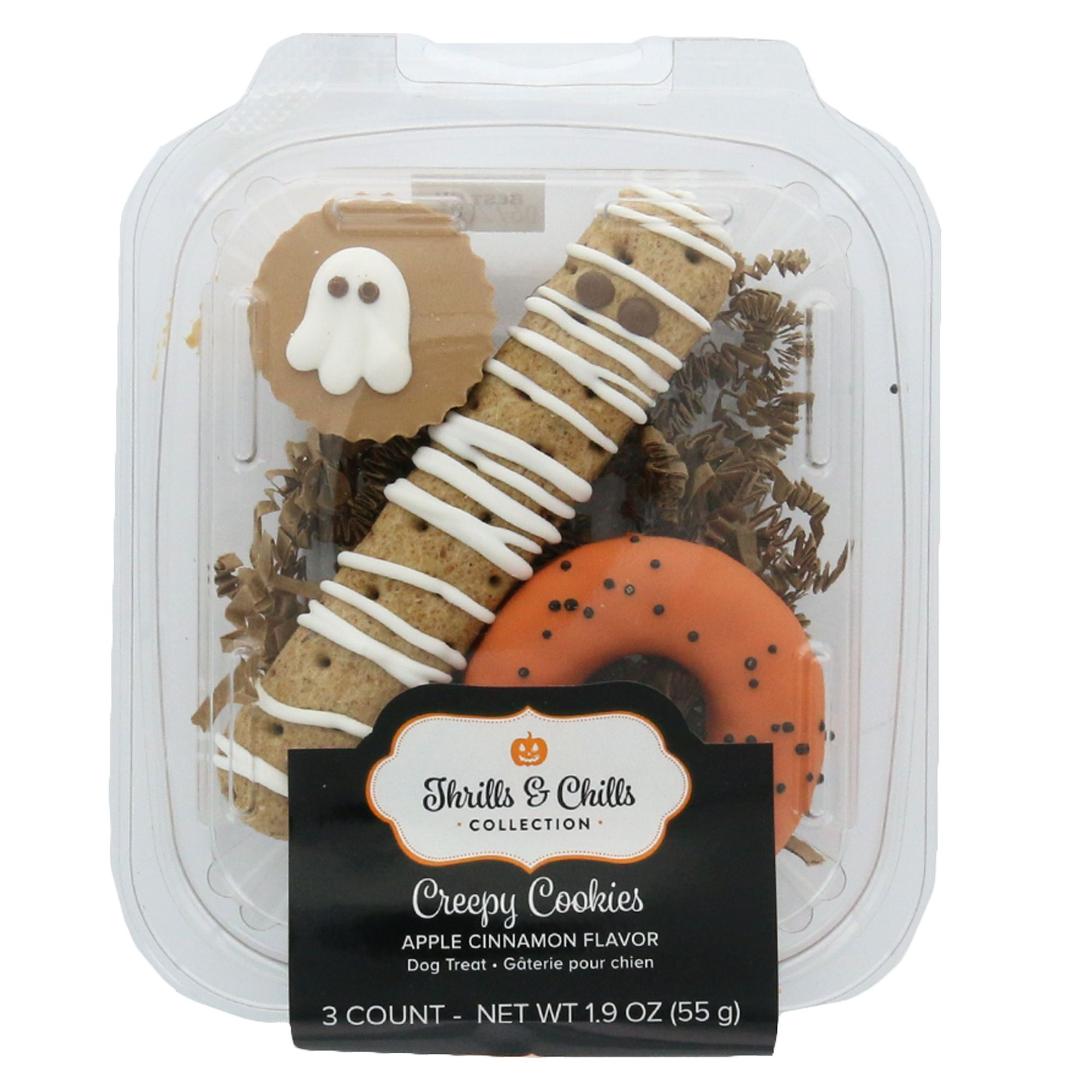 Thrills and Chills Pet Halloween Creepy Cookies Gift Pack Dog Treat size: 3 Count, Thrills & Chills, Apple Cinnamon, Biscuit, Wheat Flour 5268153