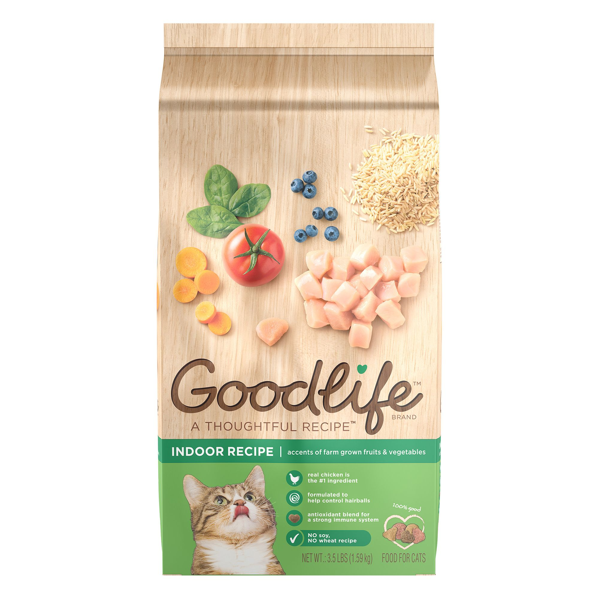 Goodlife Indoor Adult Cat Food - Natural, Chicken size: 3.5 Lb, Kibble, (1-7 Years) 5268394