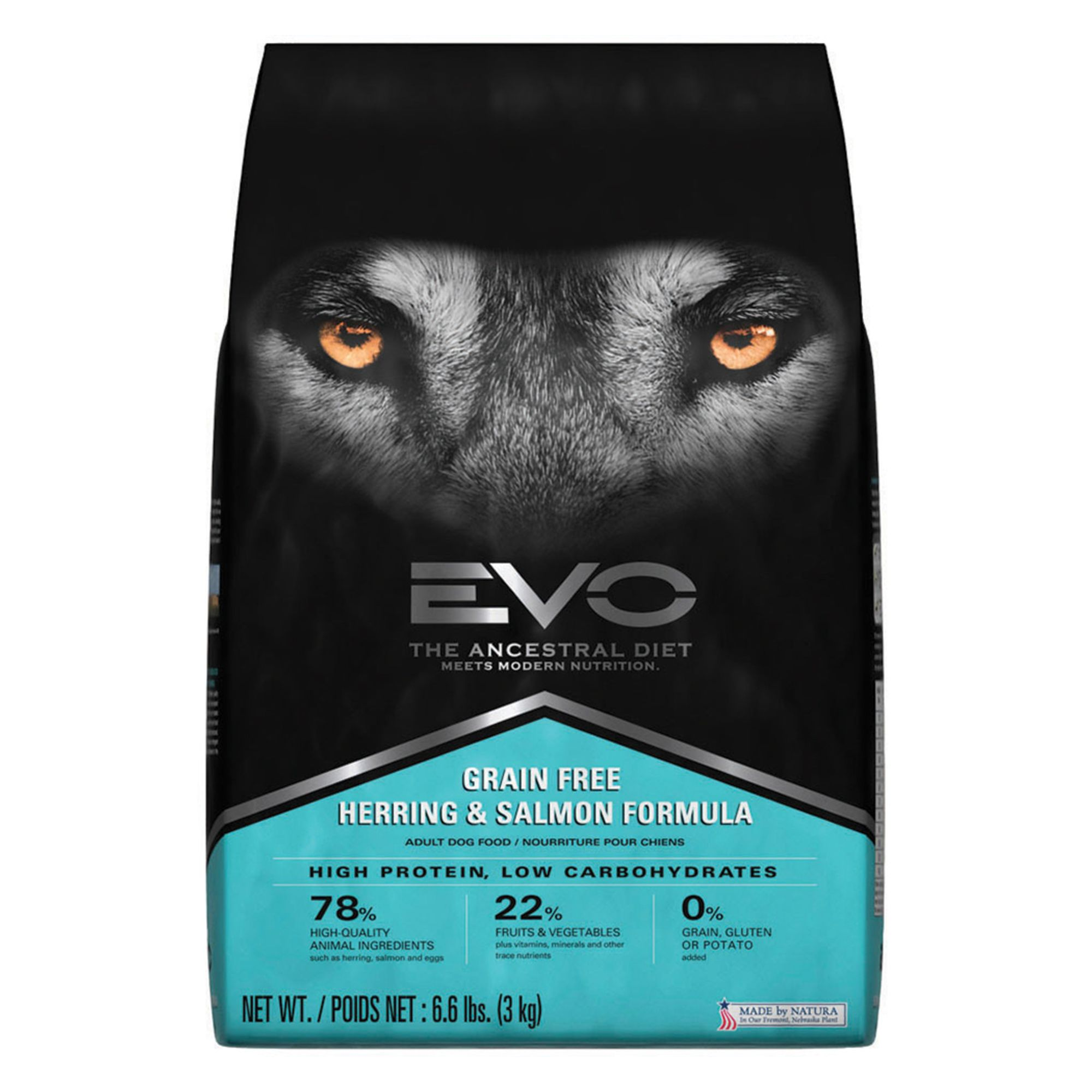 EVO Adult Dog Food - Grain Free, Gluten Free, Herring and Salmon size: 6.6 Lb 5268860