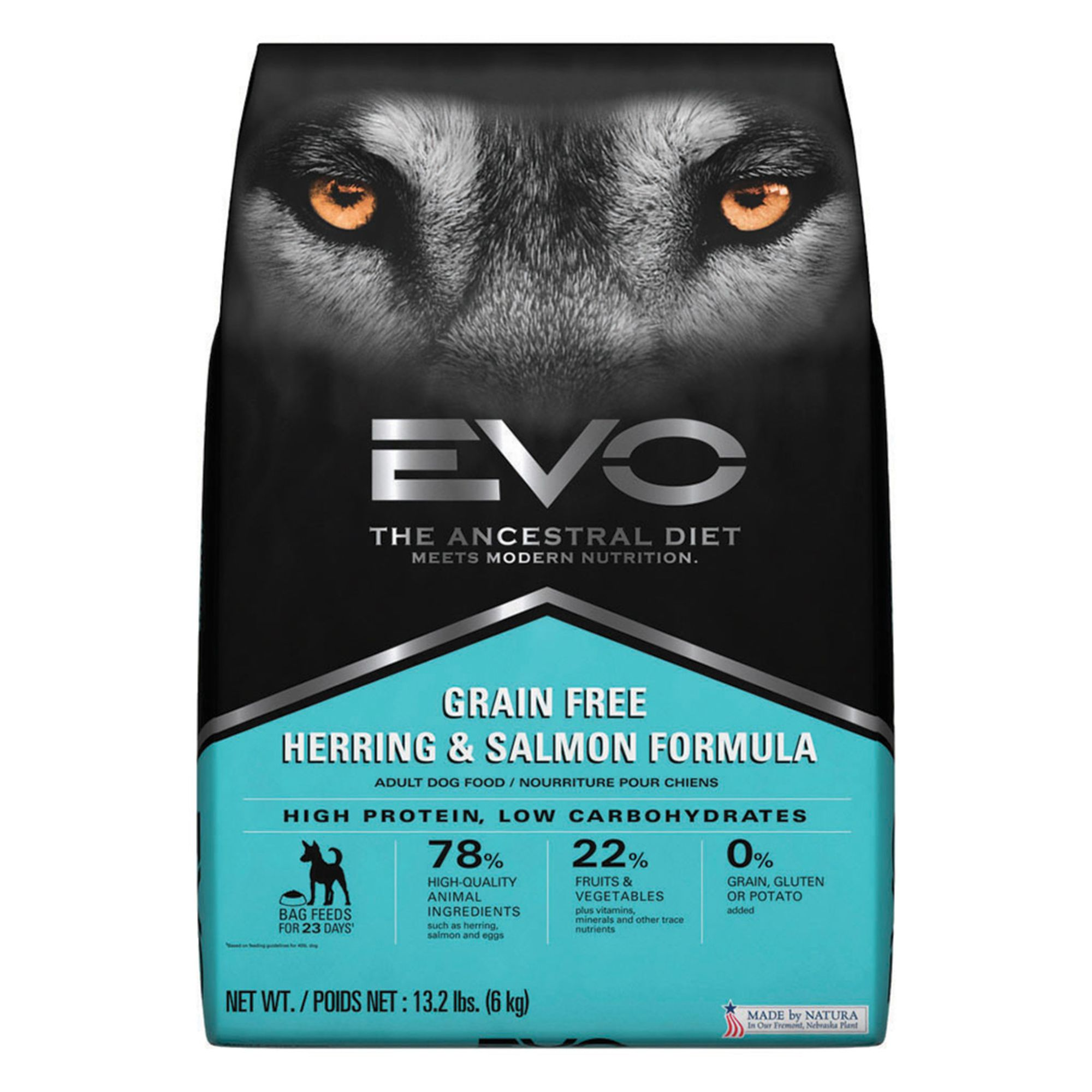 EVO Adult Dog Food - Grain Free, Gluten Free, Herring and Salmon size: 13.2 Lb 5268861
