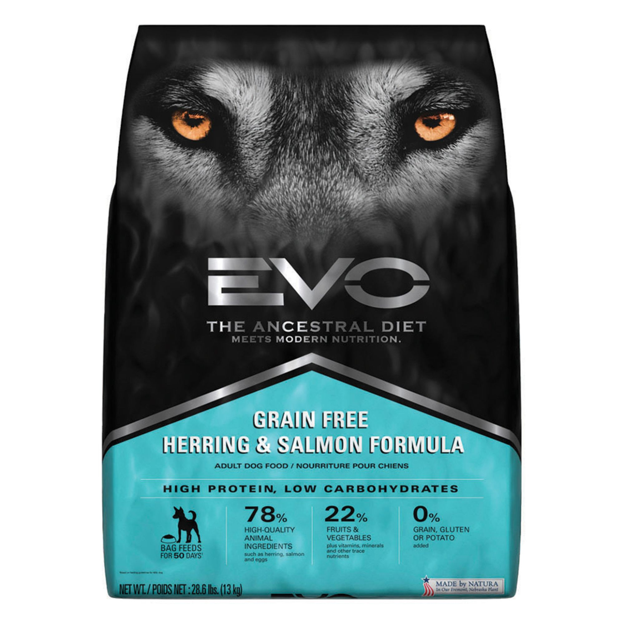 EVO Adult Dog Food - Grain Free, Gluten Free, Herring and Salmon size: 28.6 Lb 5268862