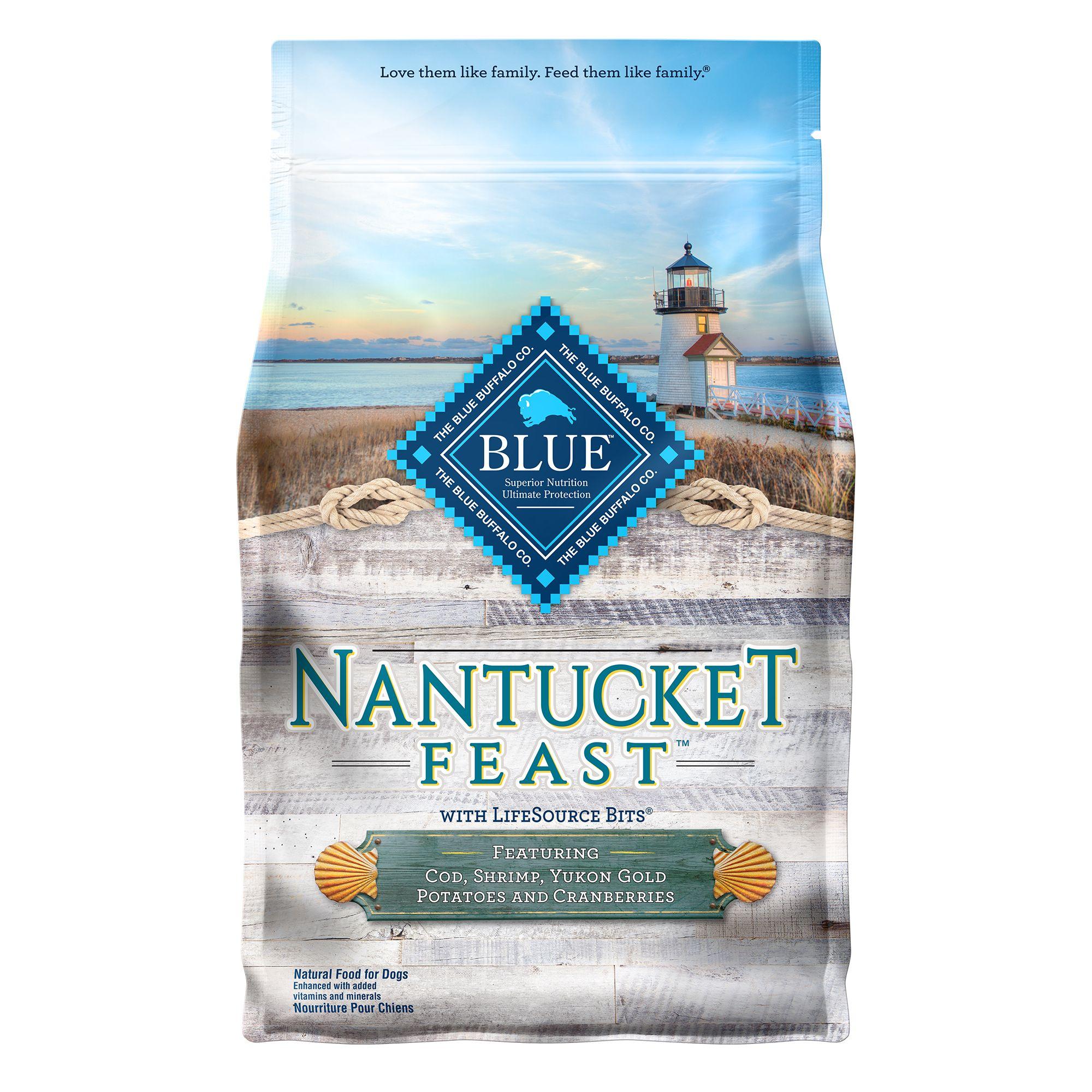 Blue Nantucket Feast Dog Food - Natural, Cod, Shrimp, Potatoes and Cranberries size: 4 Lb, Blue Buffalo, Cod, Shrimp, Yukon Gold Potatoes and Cranberries, Adult, Deboned Cod Fish 5268956