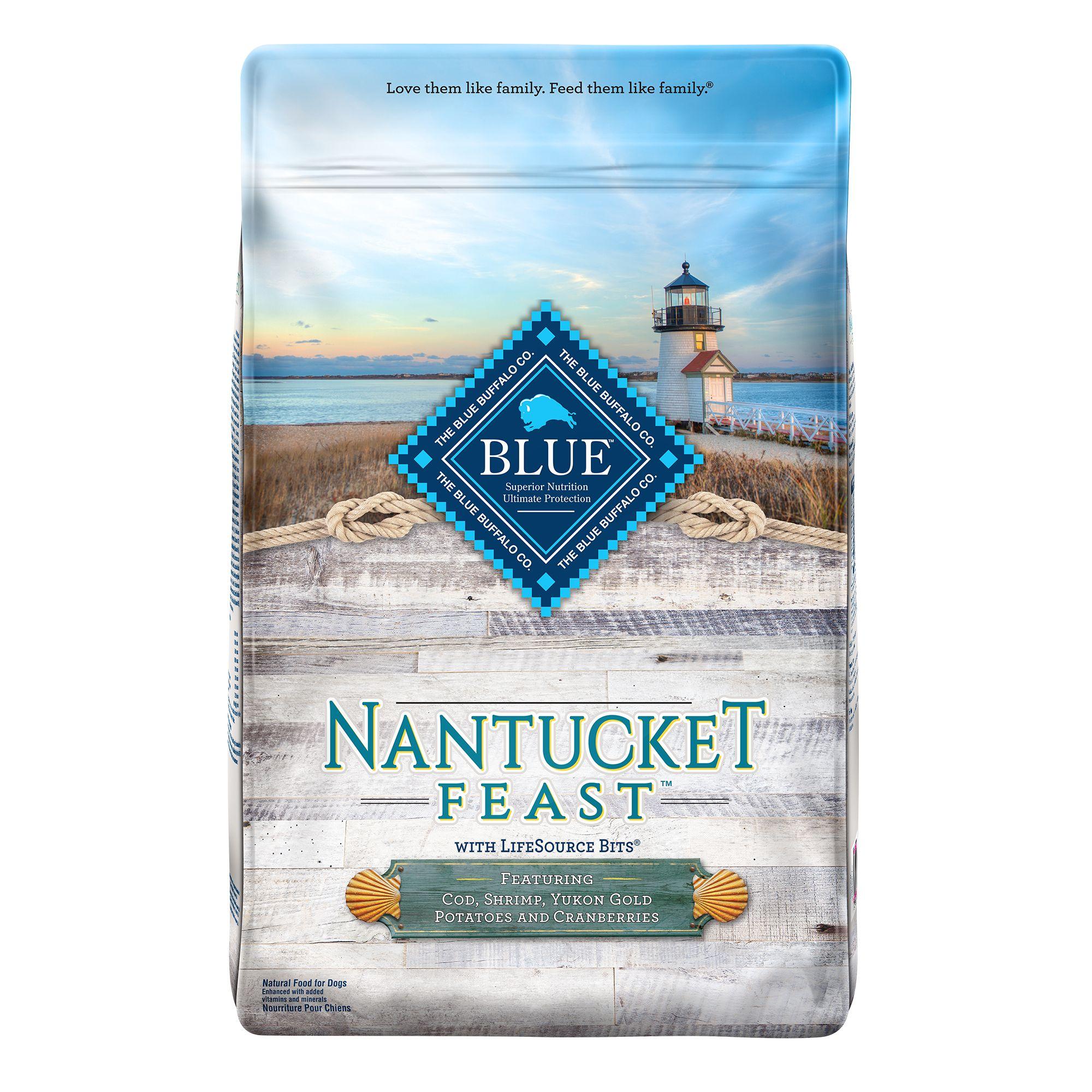 Blue Nantucket Feast Dog Food - Natural, Cod, Shrimp, Potatoes and Cranberries size: 22 Lb, Blue Buffalo, Cod, Shrimp, Yukon Gold Potatoes and Cranberries, Adult, Deboned Cod Fish 5268959