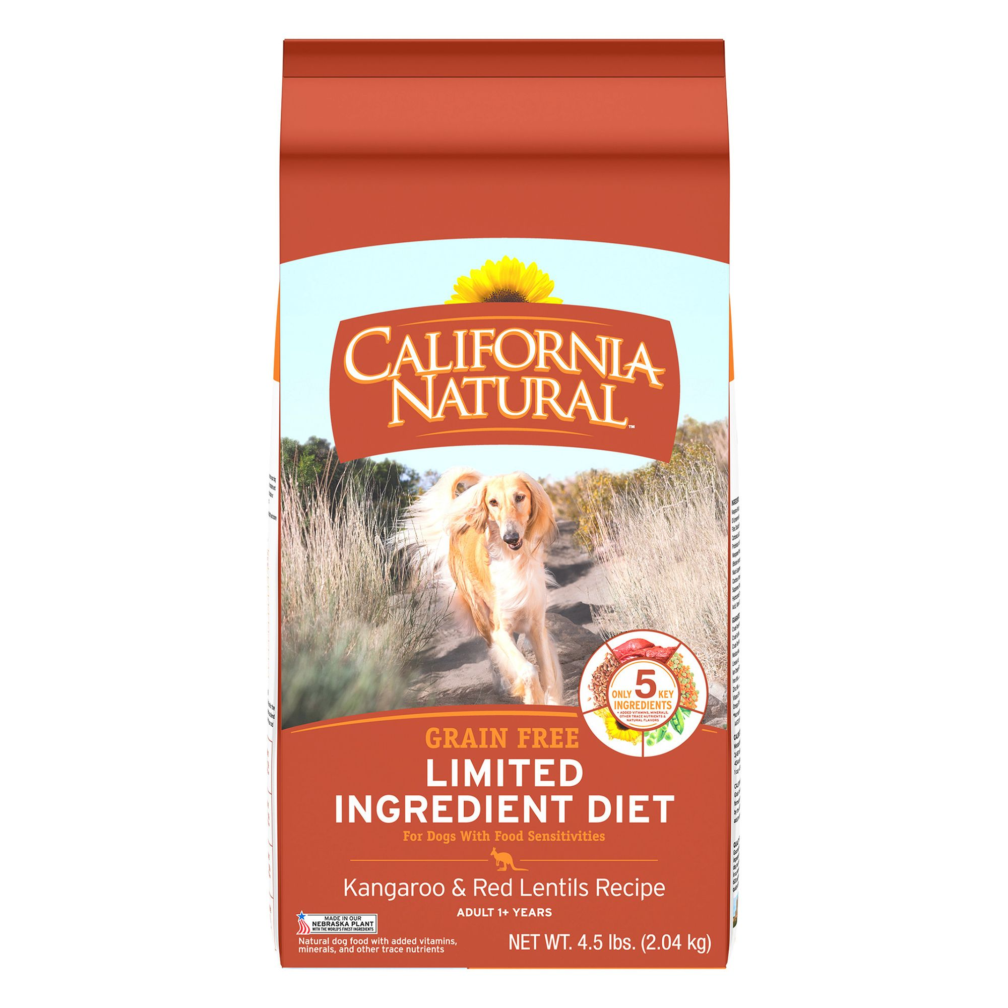 California Natural Limited Ingredient Diet Dog Food Natural Grain Free Kangaroo And Red Lentils Size 4.5 Lb