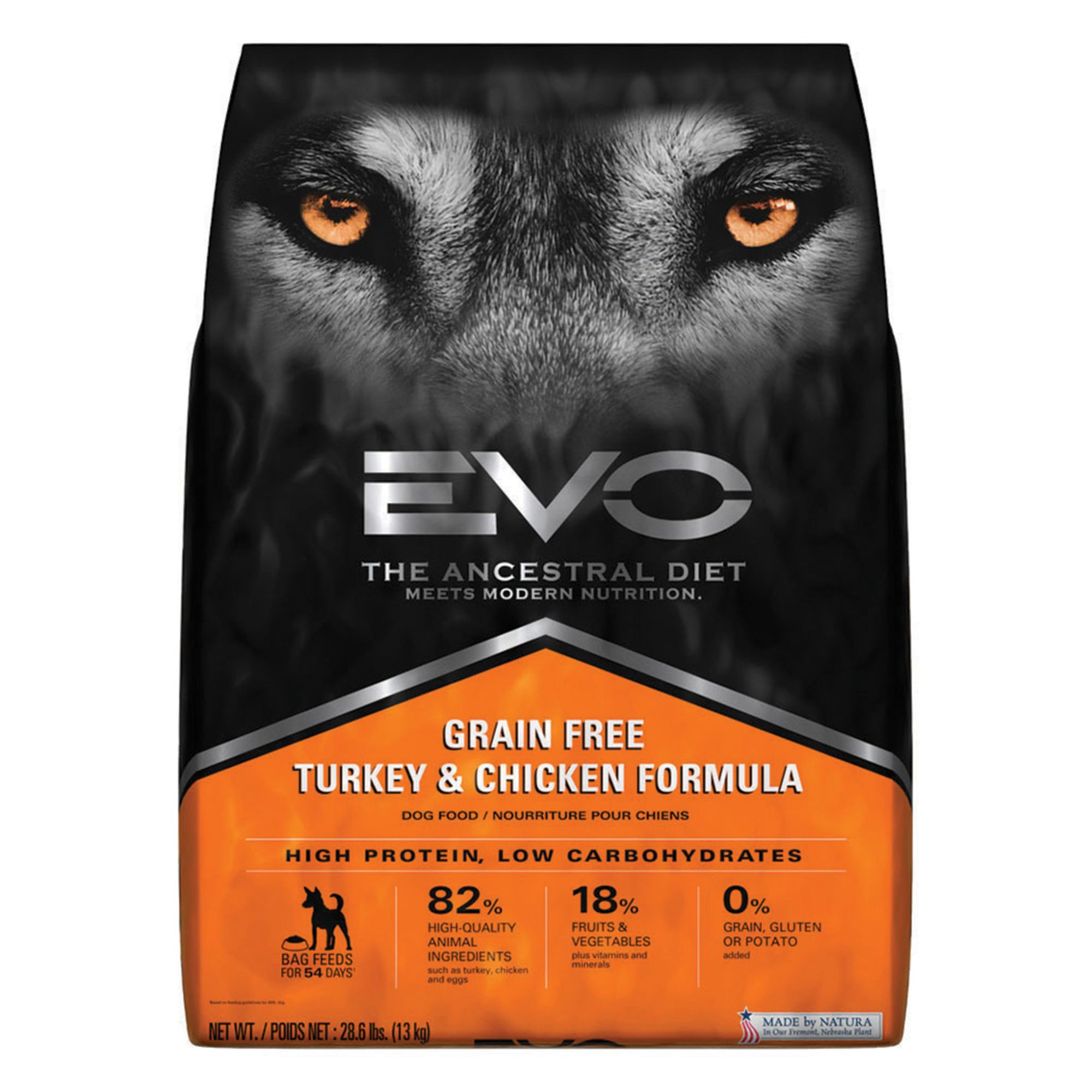 EVO Adult Dog Food - Grain Free, Gluten Free, Turkey and Chicken size: 28.6 Lb 5269071