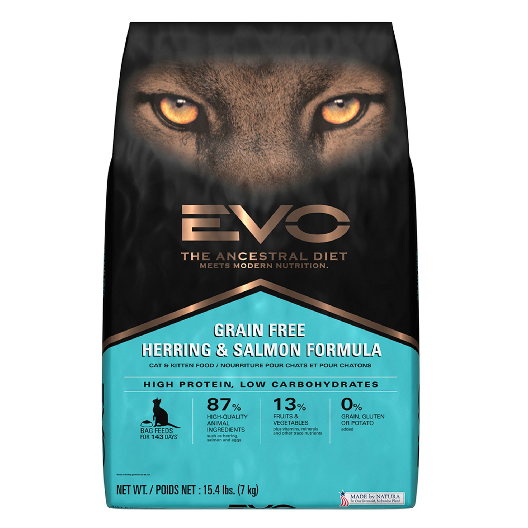 Evo Cat And Kitten Food Grain Free Gluten Free Herring And Salmon Size 15.4 Lb