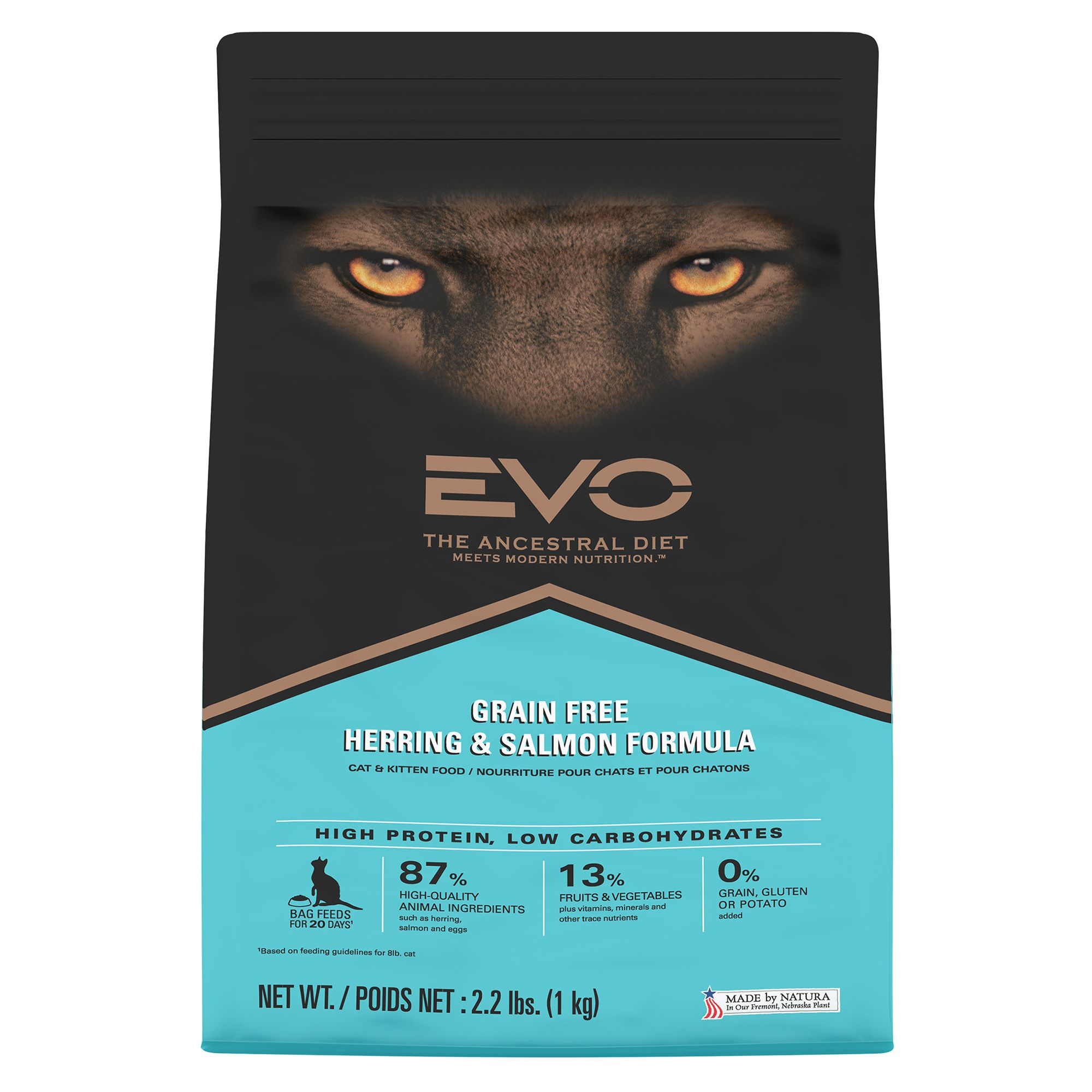 Evo Cat And Kitten Food Grain Free Gluten Free Herring And Salmon Size 2.2 Lb