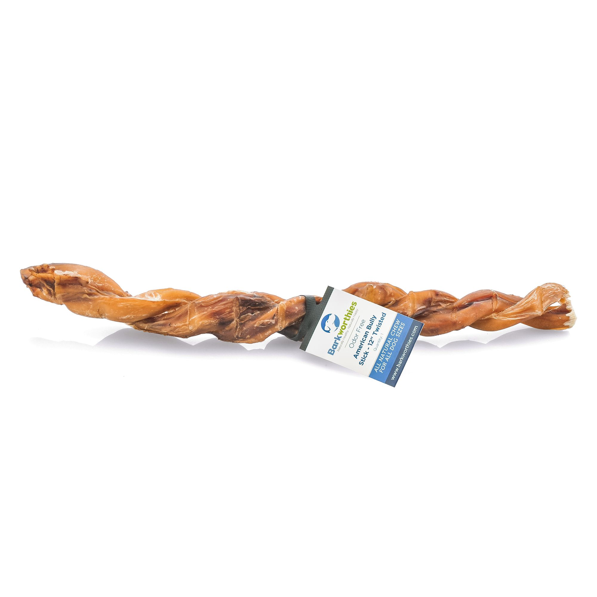 Barkworthies 12 Twisted Bully Stick Dog Chew Natural Size 12 In